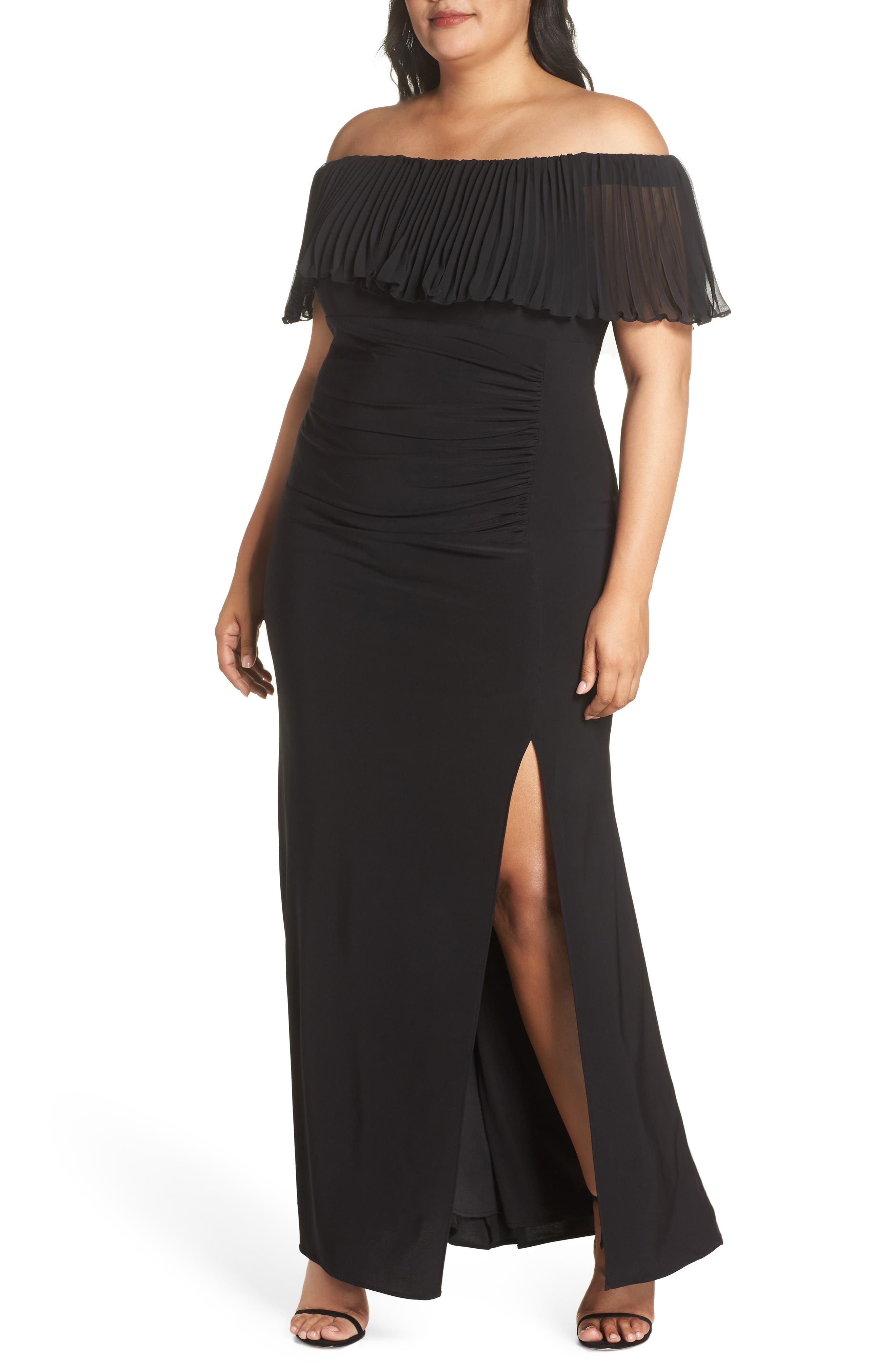 Pleated Chiffon Popover Gown,                             Main thumbnail 1, color,                             BLACK