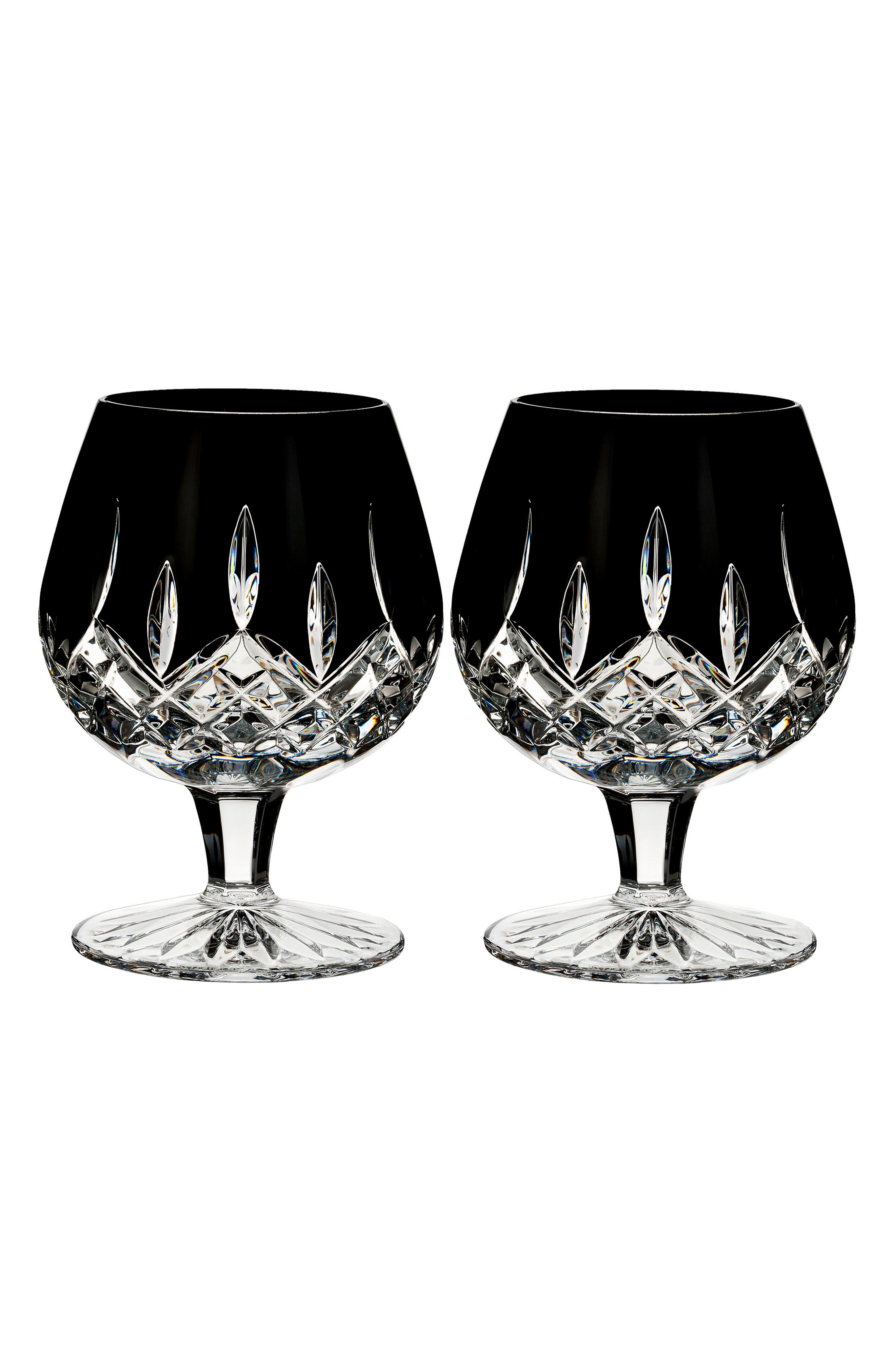 Lismore Diamond Set of 2 Black Lead Crystal Brandy Glasses,                         Main,                         color,