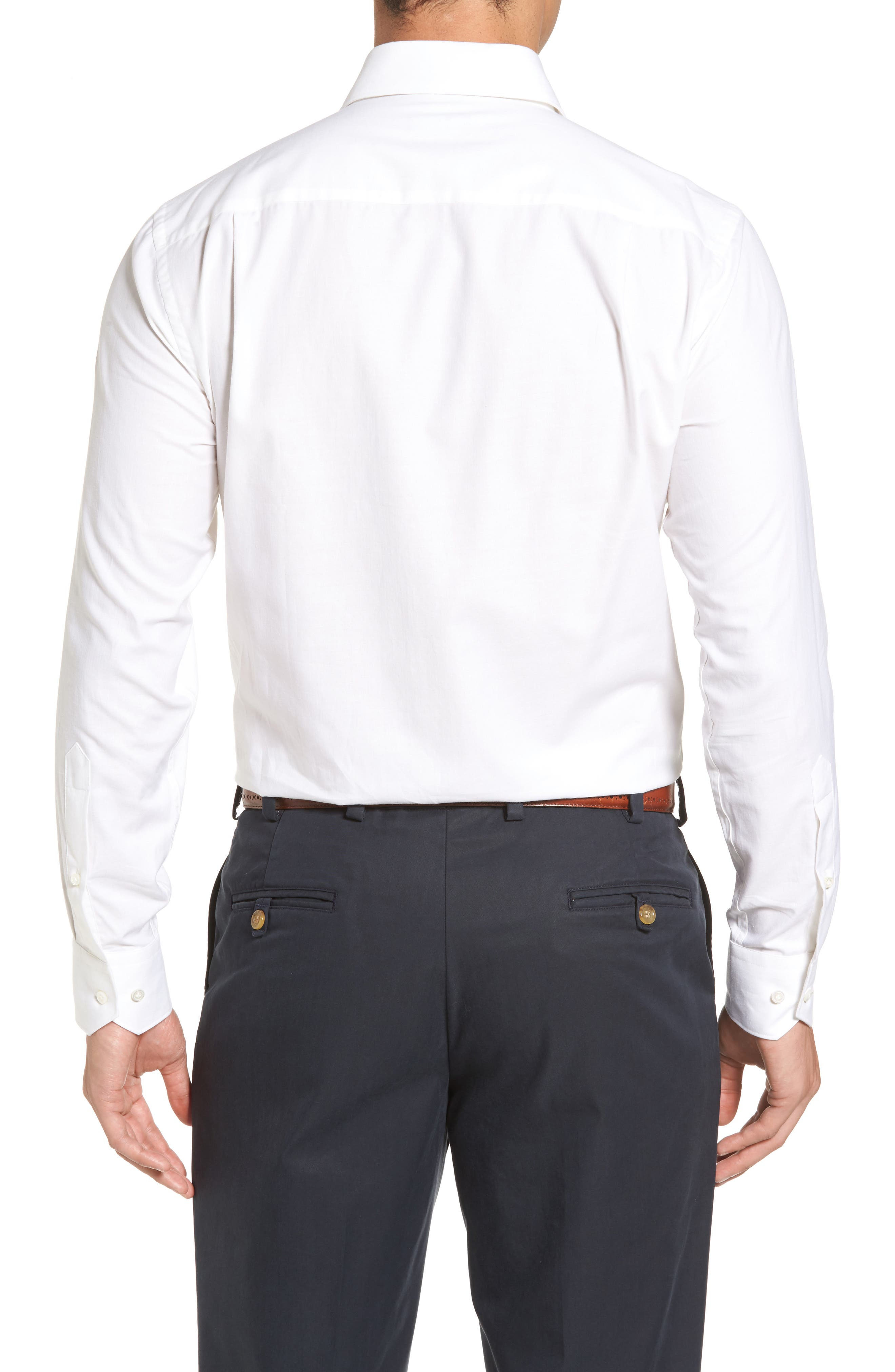 Silky Touch Herringbone Sport Shirt,                             Alternate thumbnail 2, color,                             100