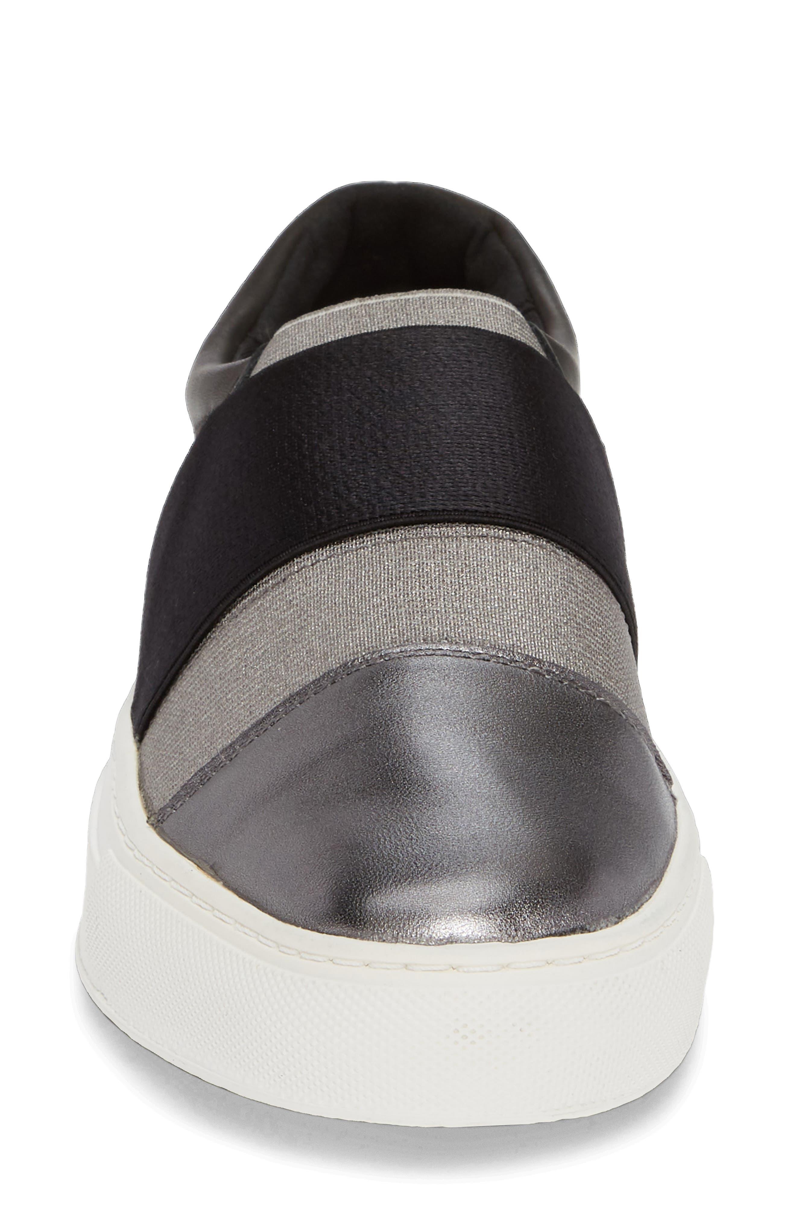Isla Slip-On Sneaker,                             Alternate thumbnail 4, color,                             GUNMETAL/ BLACK LEATHER