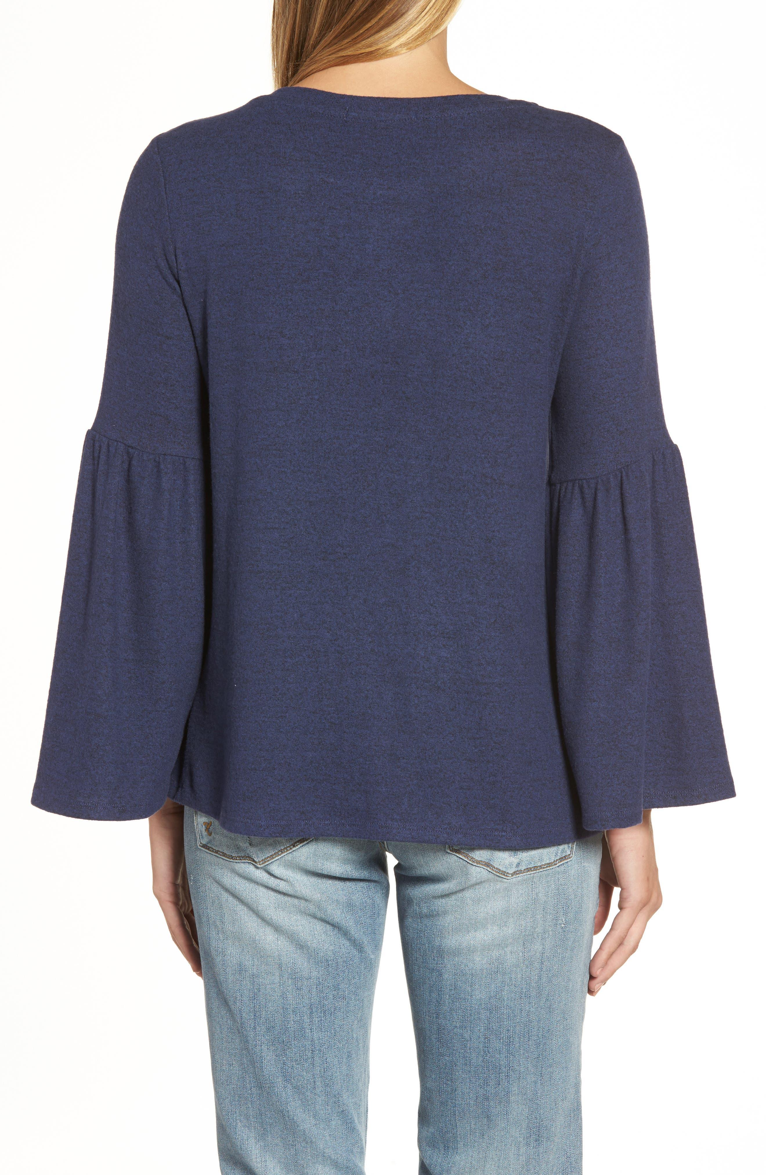 GIBSON,                             Bell Sleeve Cozy Fleece Pullover,                             Alternate thumbnail 5, color,                             415