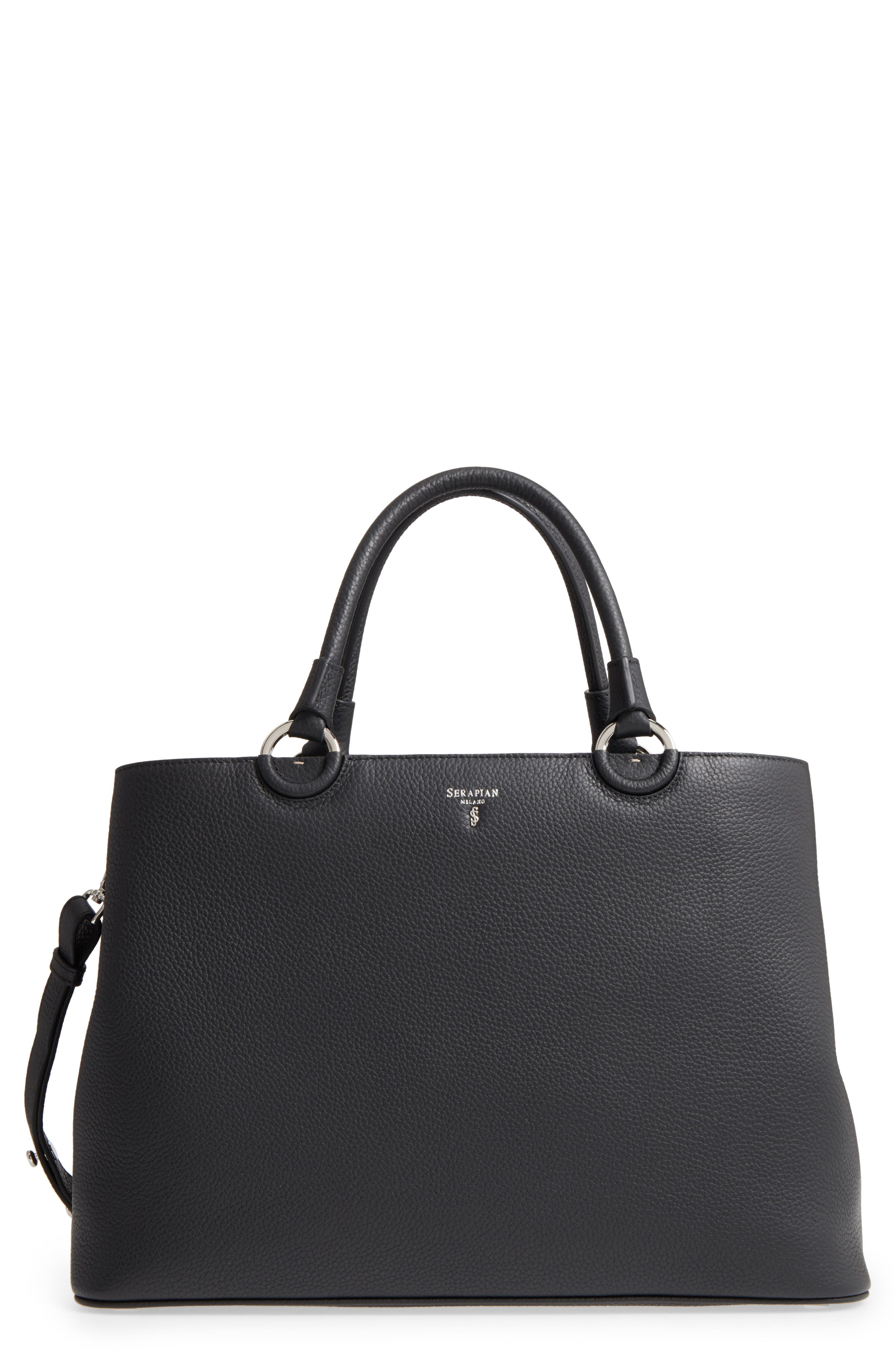 Veronica Cachemire Leather Tote,                             Main thumbnail 1, color,                             001