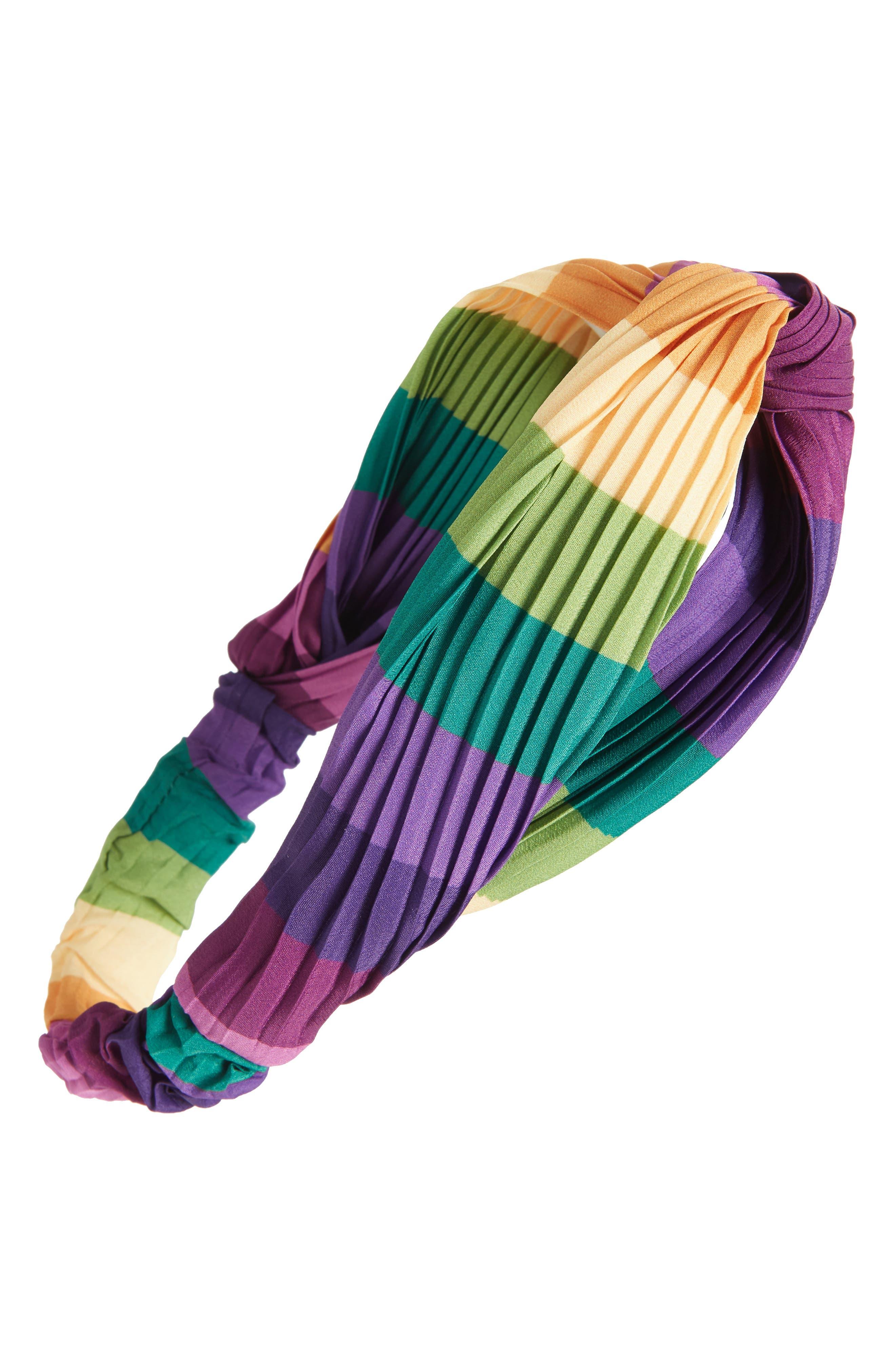 Rainbow Twist Pleated Head Wrap, Main, color, GREEN MULTI