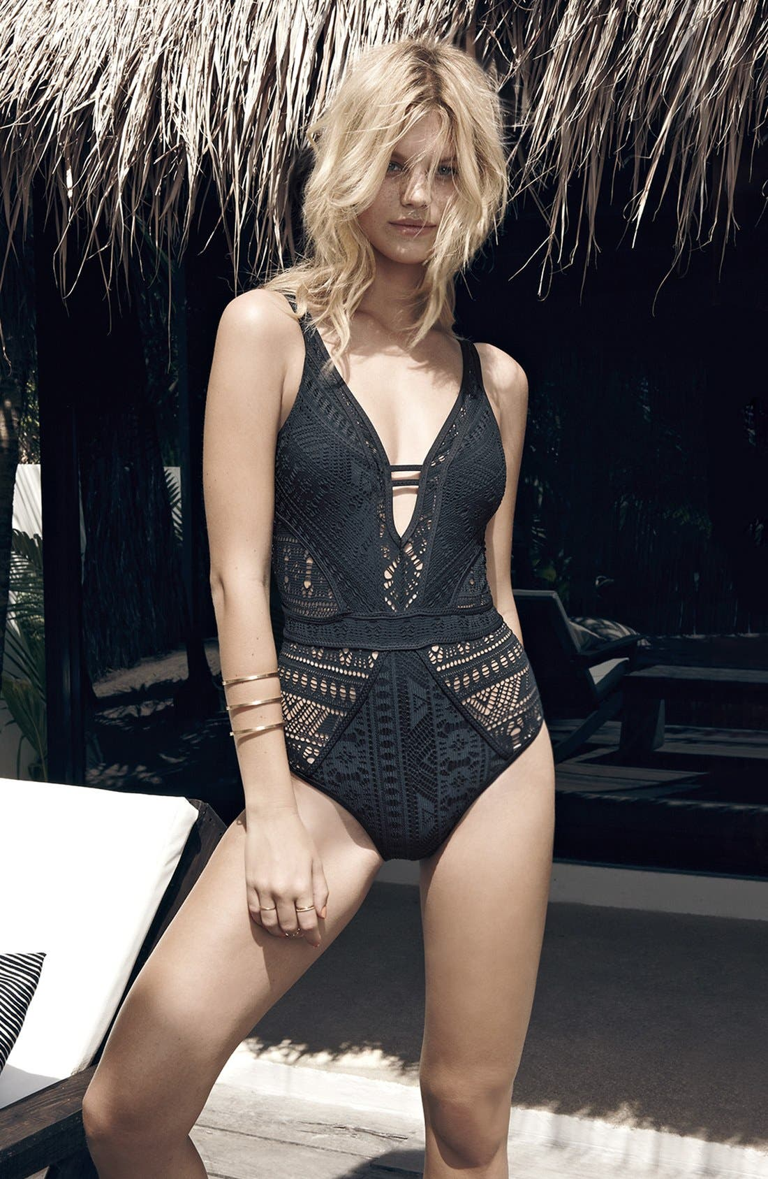 BECCA,                             'Show & Tell' Openwork One-Piece Swimsuit,                             Alternate thumbnail 3, color,                             001