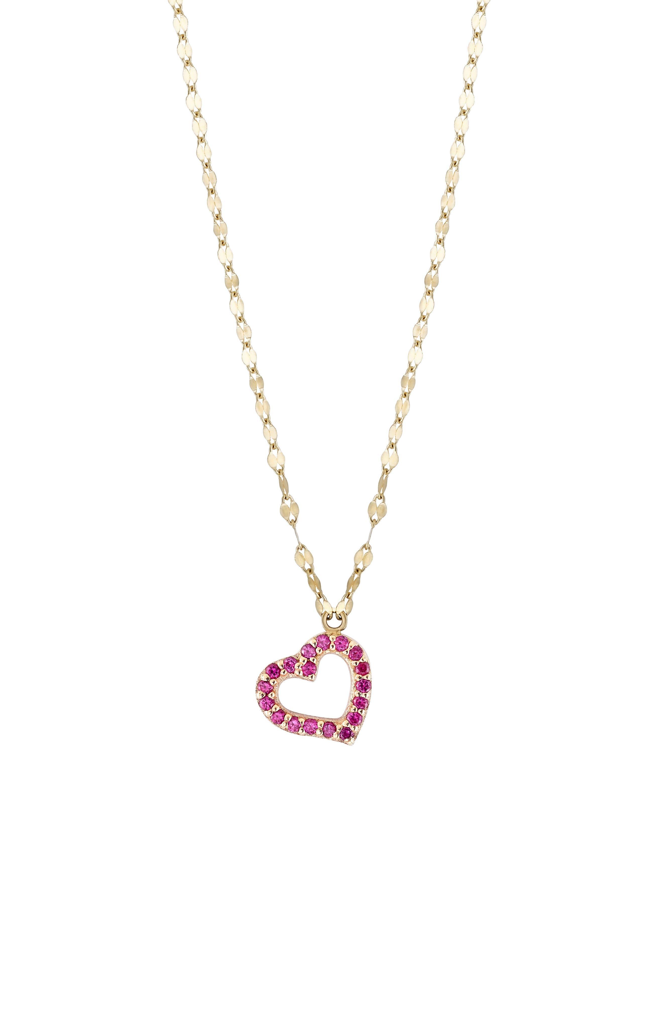 Mini Heart Pendant Necklace,                             Main thumbnail 1, color,                             YELLOW GOLD
