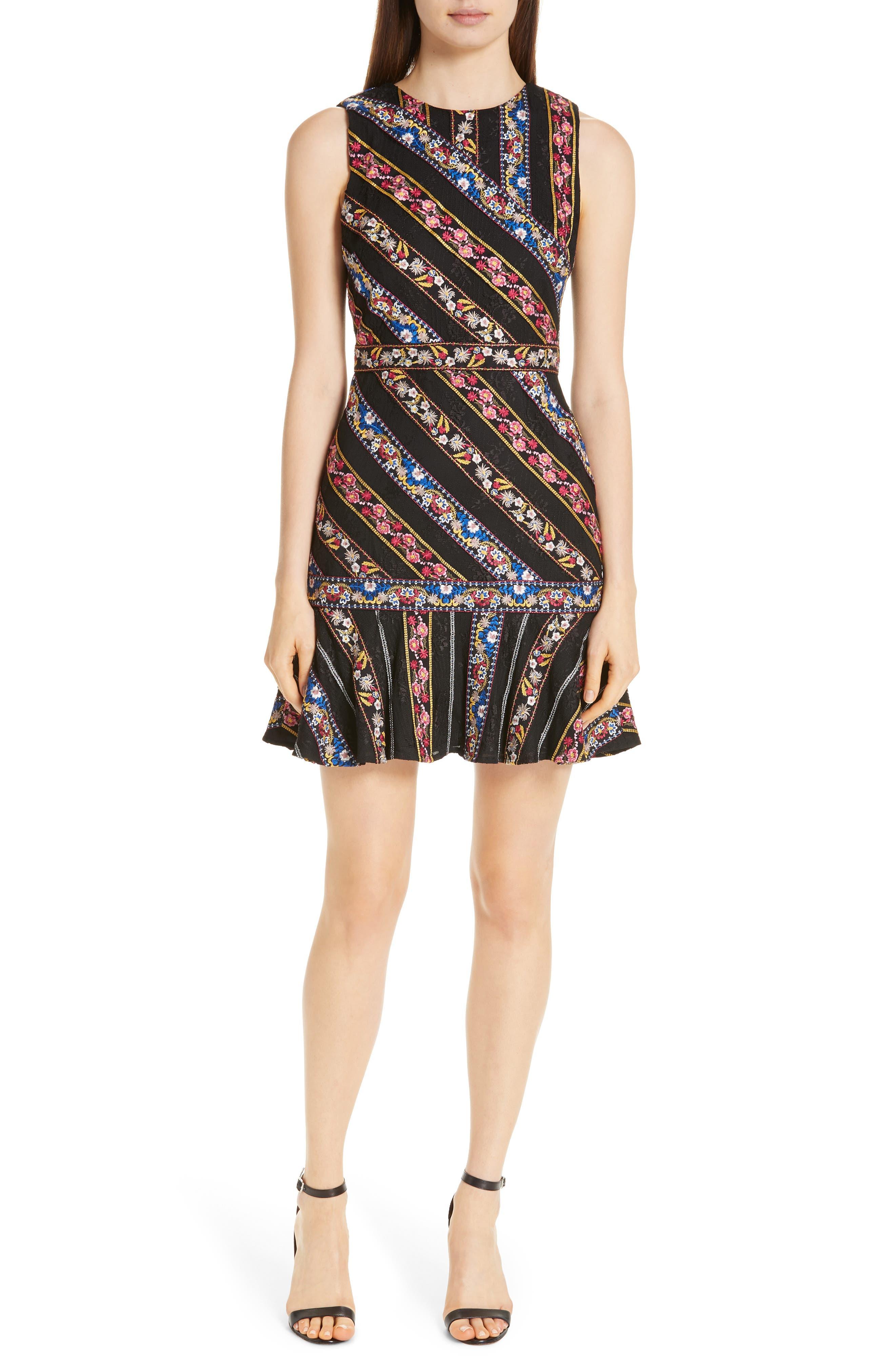 Imani Embroidered Fit & Flare Dress,                             Main thumbnail 1, color,                             BLACK/ MULTI