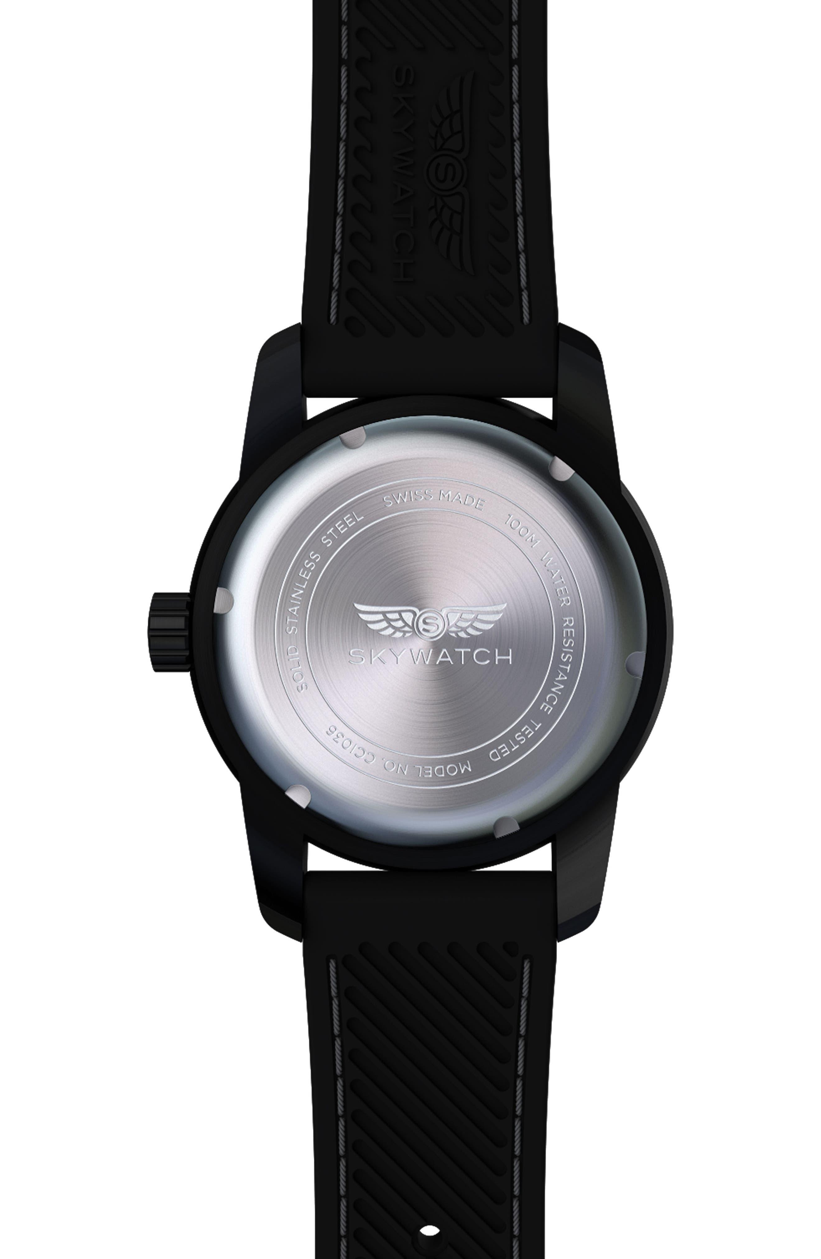 Classic Rubber Strap Watch, 44mm,                             Alternate thumbnail 2, color,                             BLACK/ BLACK
