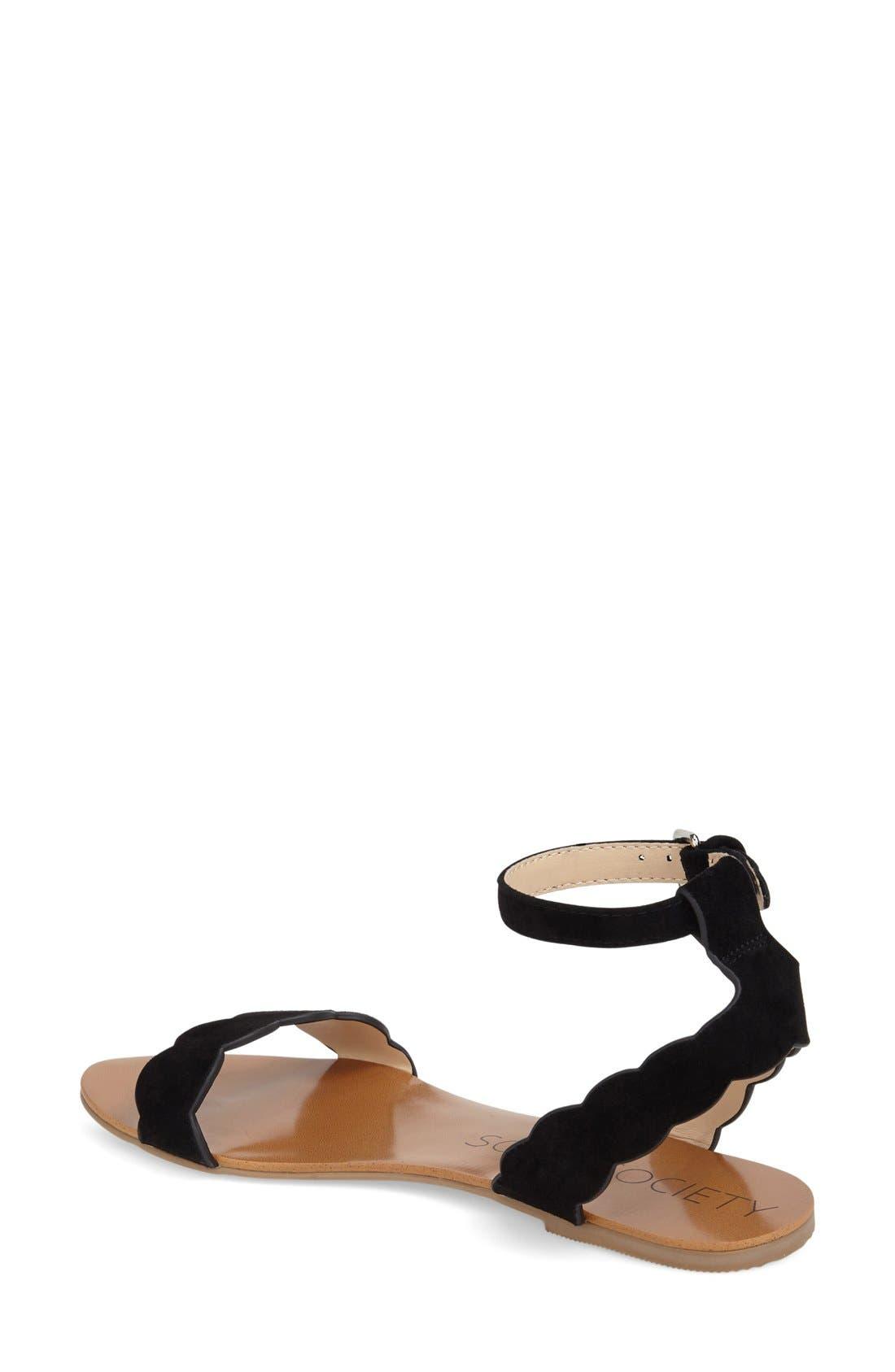 'Odette' Scalloped Ankle Strap Flat Sandal,                             Alternate thumbnail 10, color,