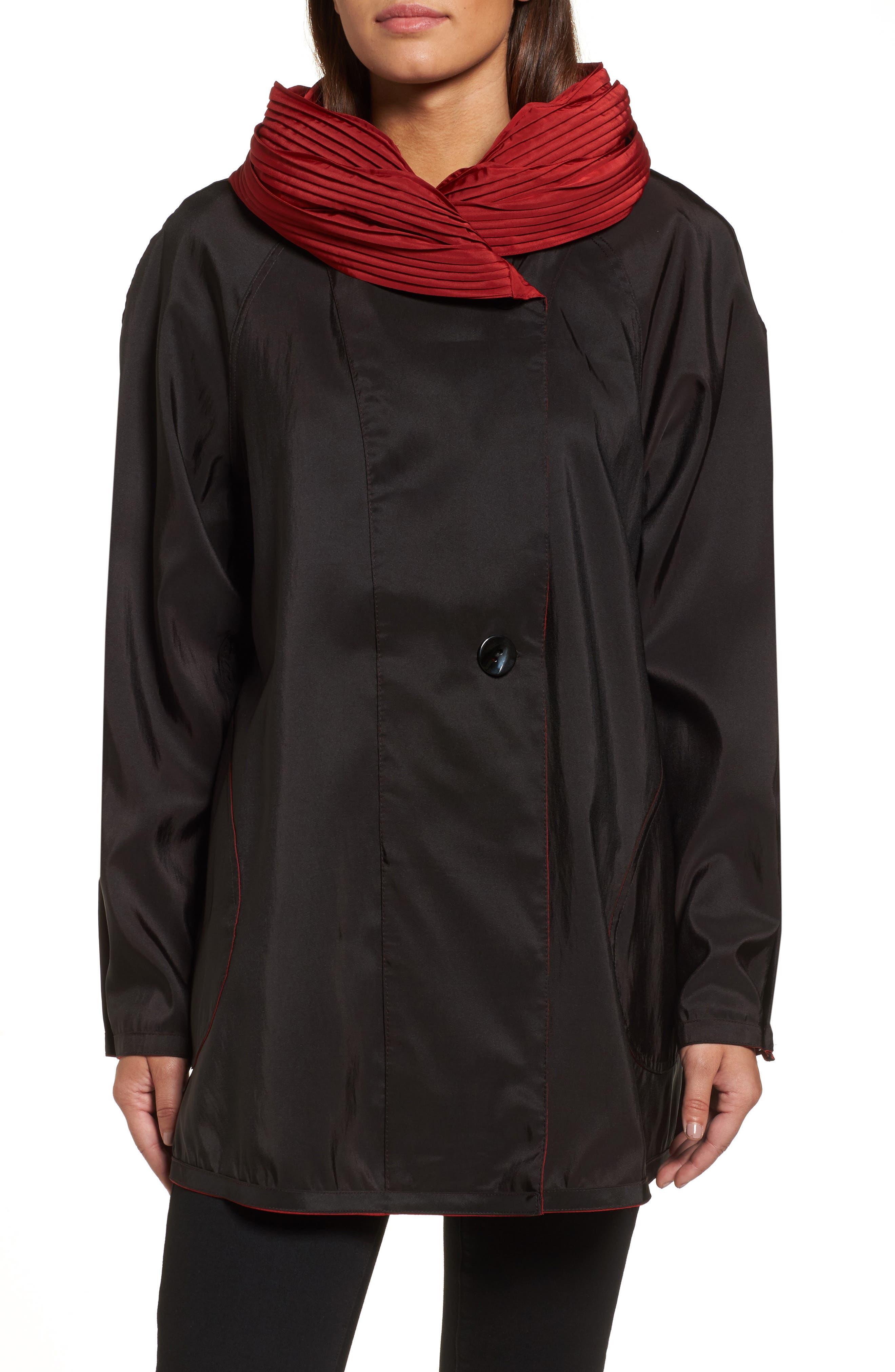 'Mini Donatella' Reversible Pleat Hood Packable Travel Coat,                             Alternate thumbnail 48, color,