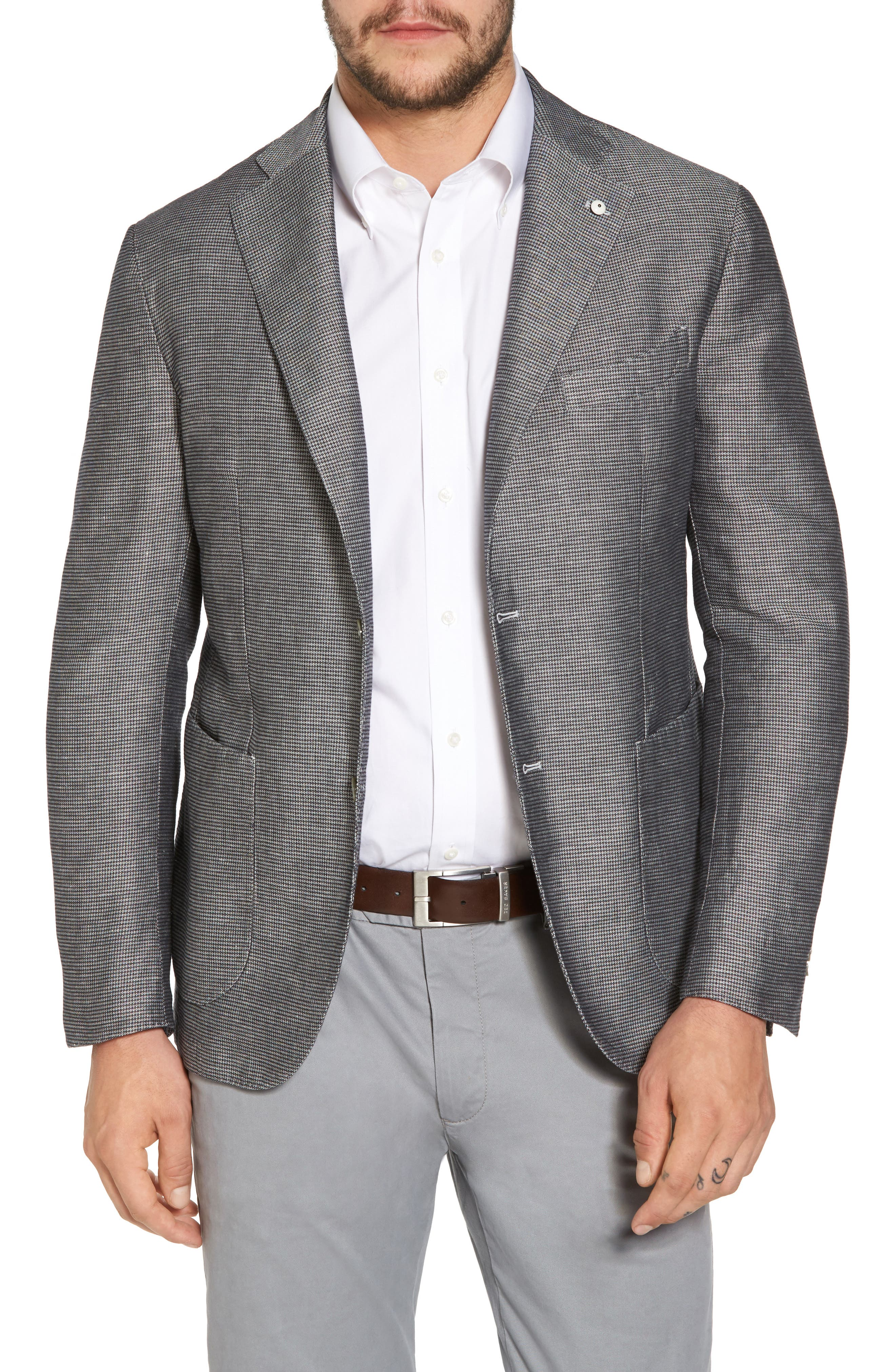Classic Fit Houndstooth Linen & Cotton Sport Coat,                         Main,                         color, 005