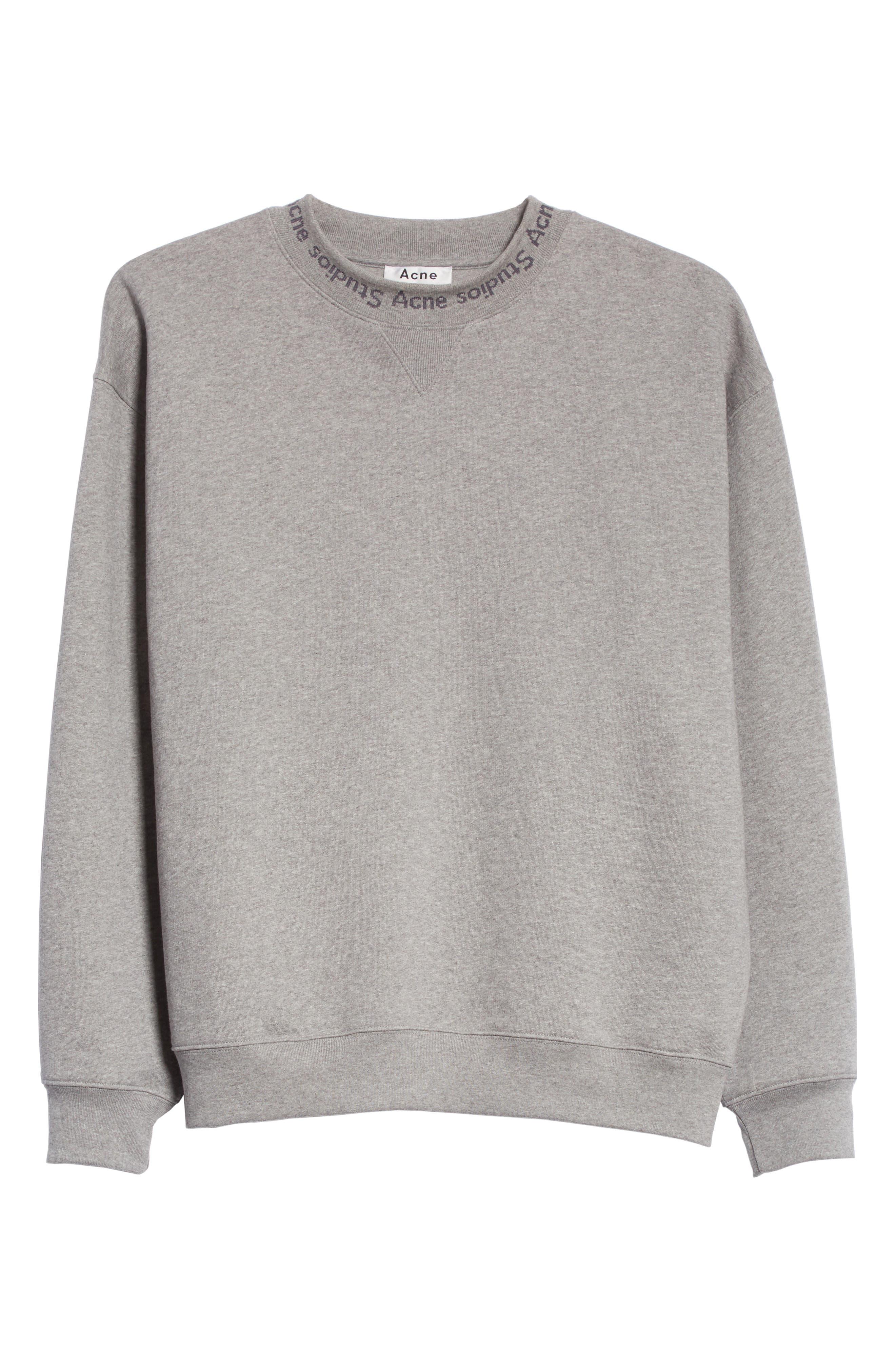 Flogo Oversize Cotton Sweatshirt,                             Alternate thumbnail 6, color,                             LIGHT GREY MELANGE