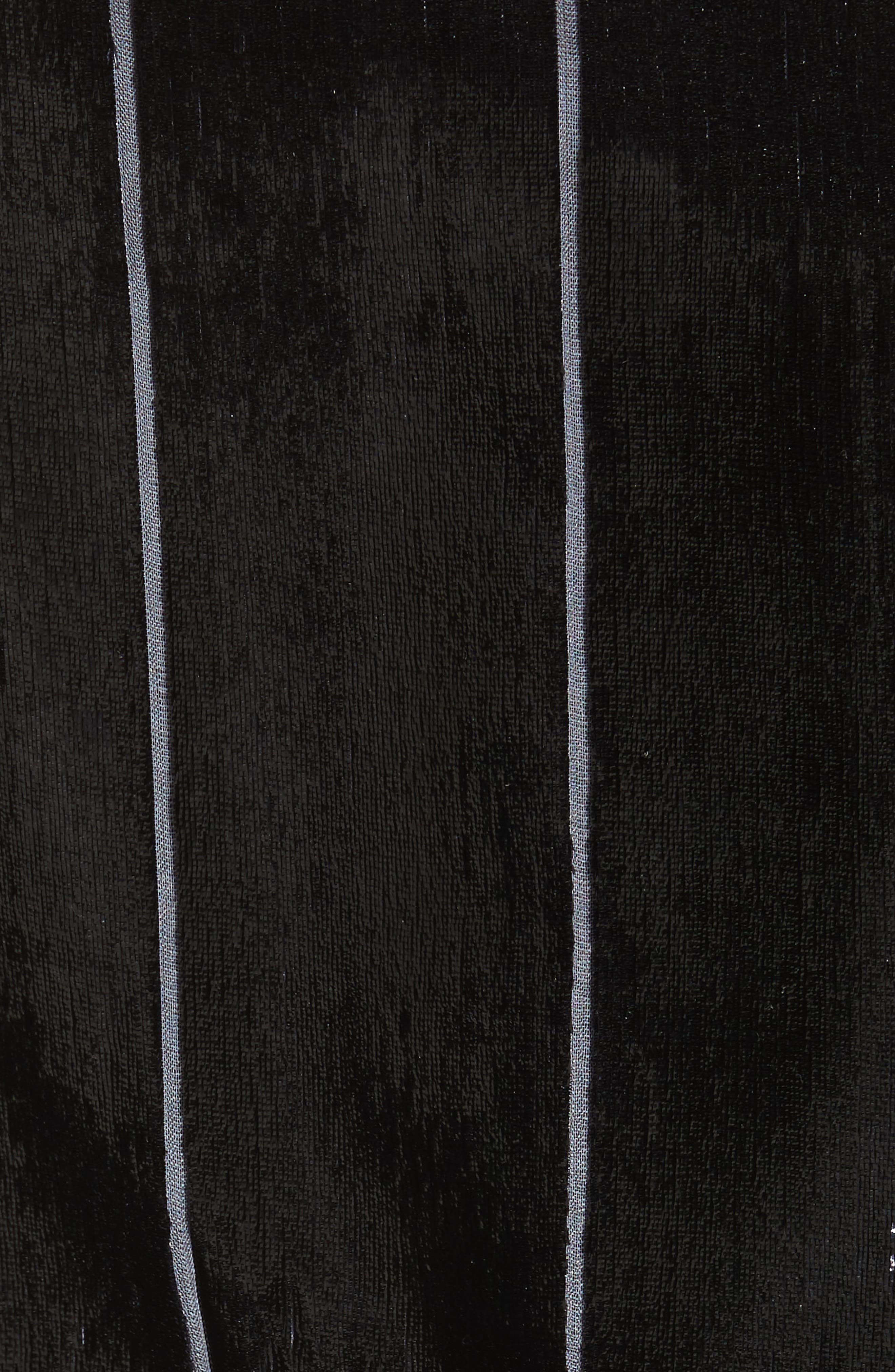 Fringe Trim Liquid Velvet Blazer,                             Alternate thumbnail 6, color,                             001