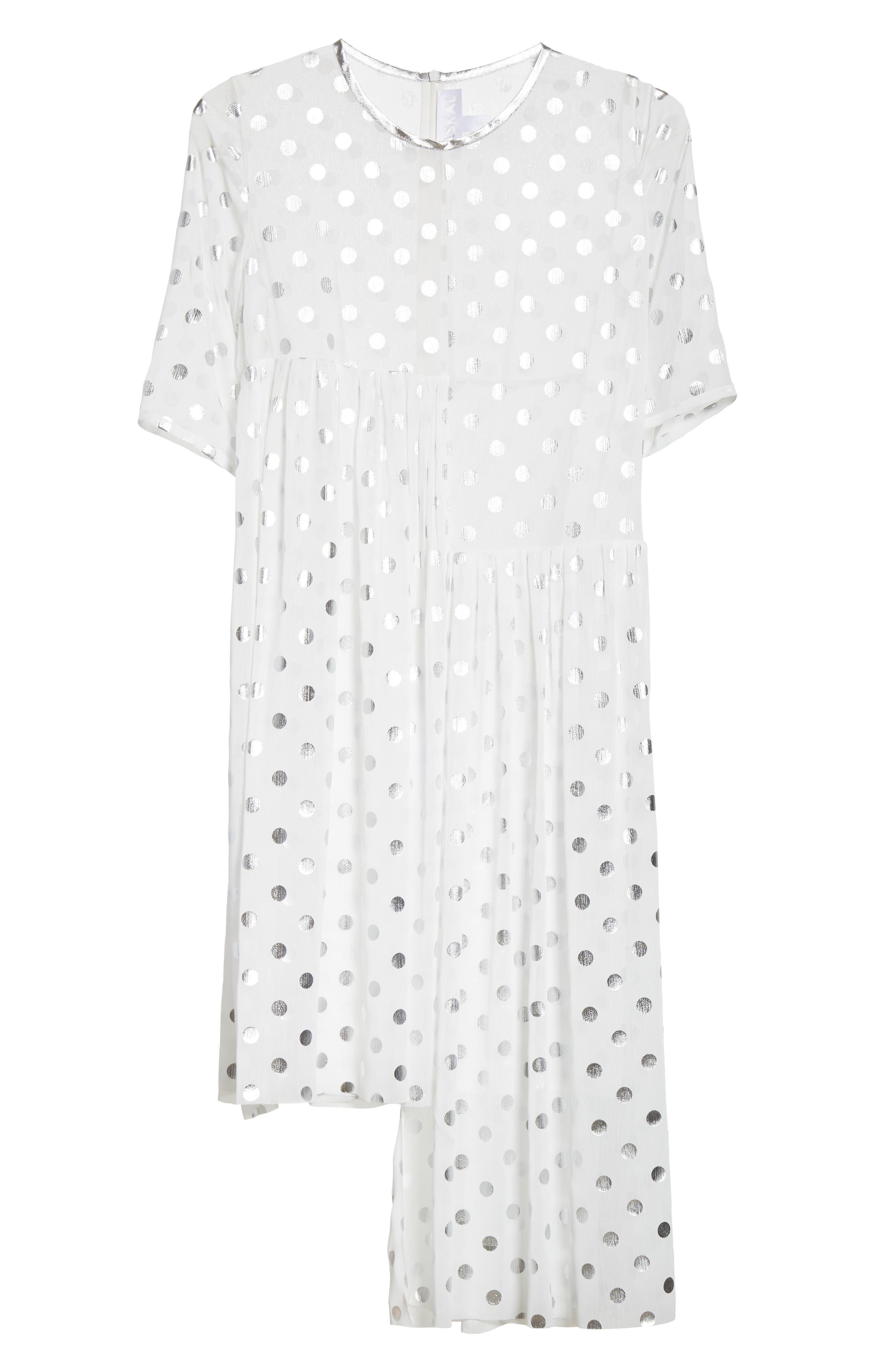 Asymmetric Gathered Short Sleeve Dress,                             Alternate thumbnail 6, color,                             110