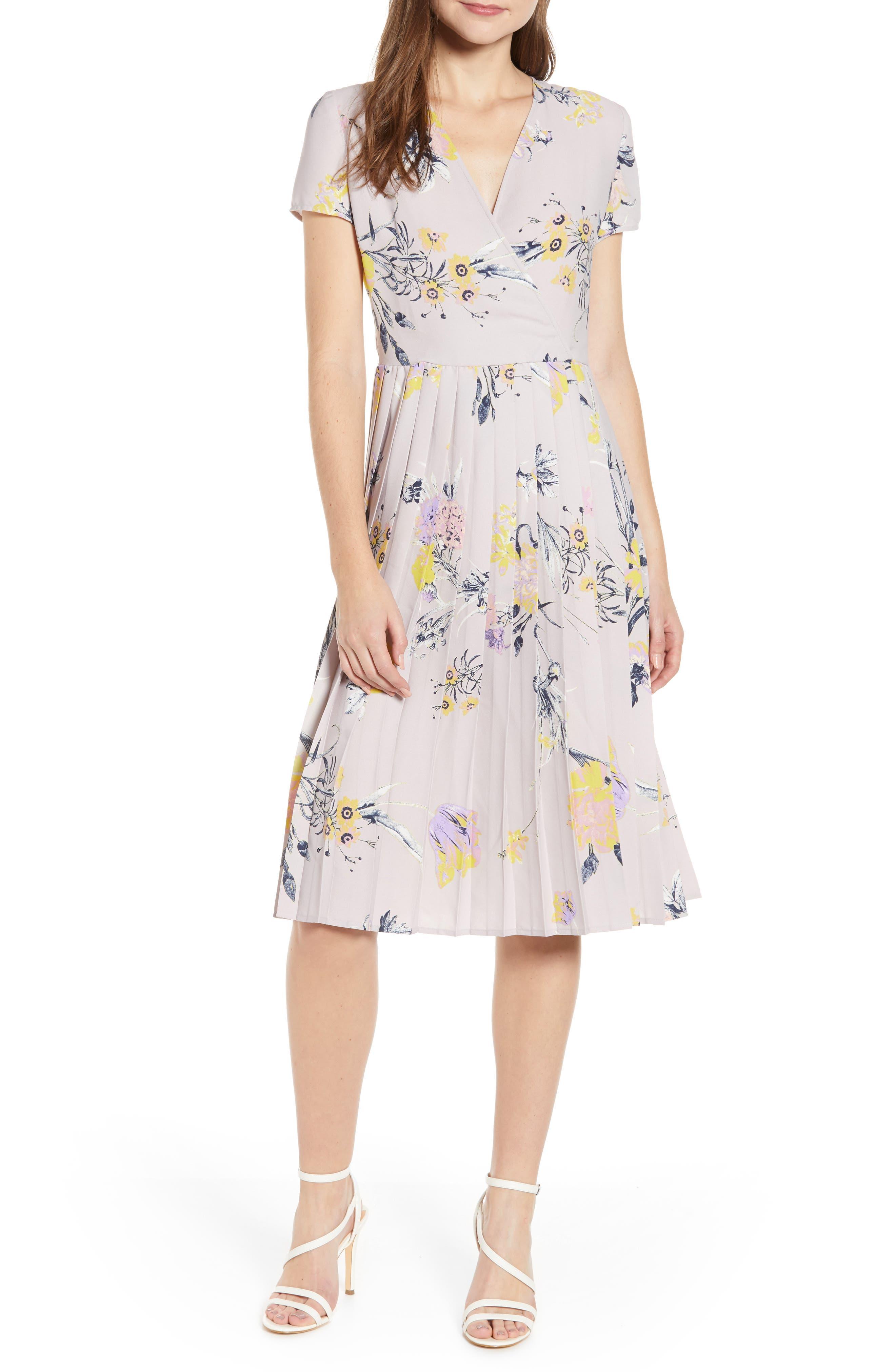 Leith Pleated Surplice Dress, Purple