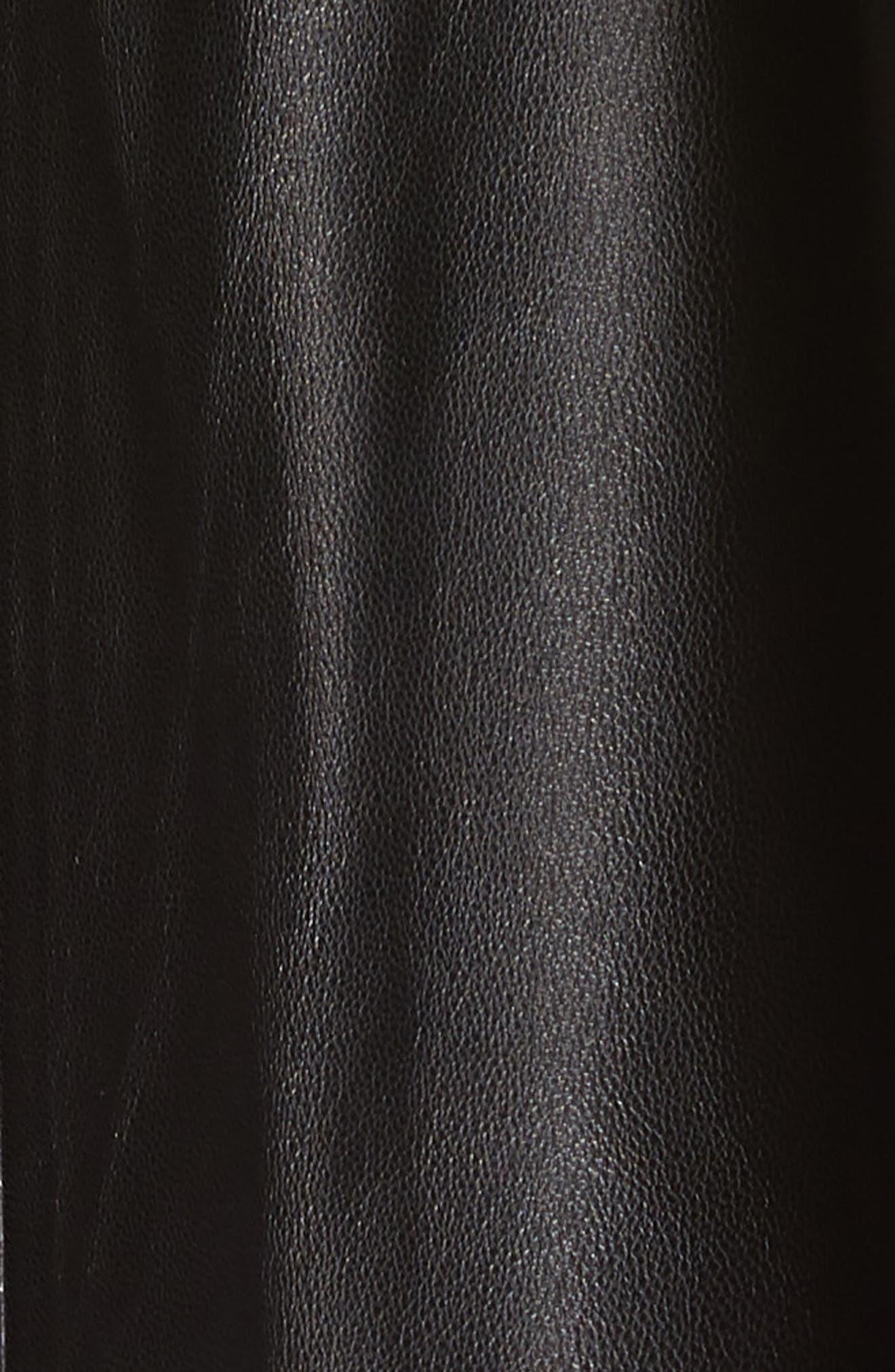 SAKS POTTS,                             Foxy Leather Coat with Genuine Fox Fur Trim,                             Alternate thumbnail 7, color,                             BLACK