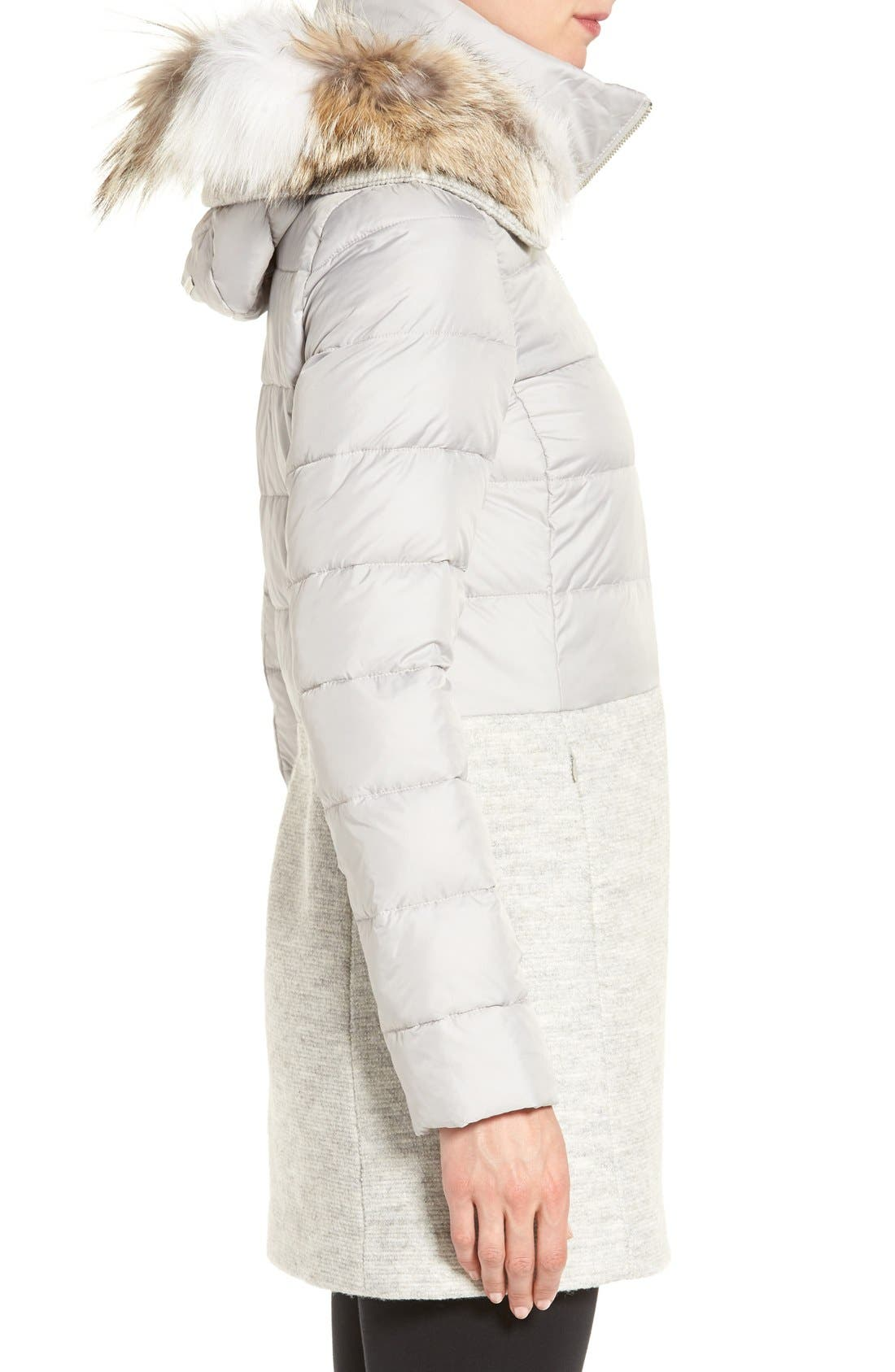 Mixed Media Quilted Coat with Genuine Coyote Fur Trim Hood,                             Alternate thumbnail 3, color,                             084