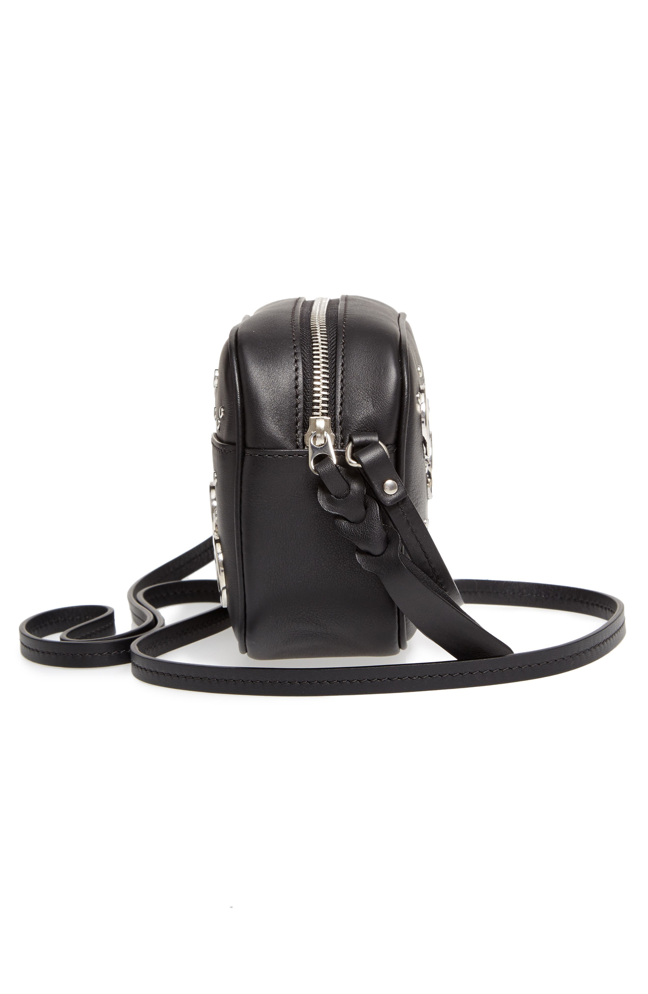 Small Leather Camera Bag,                             Alternate thumbnail 5, color,                             001
