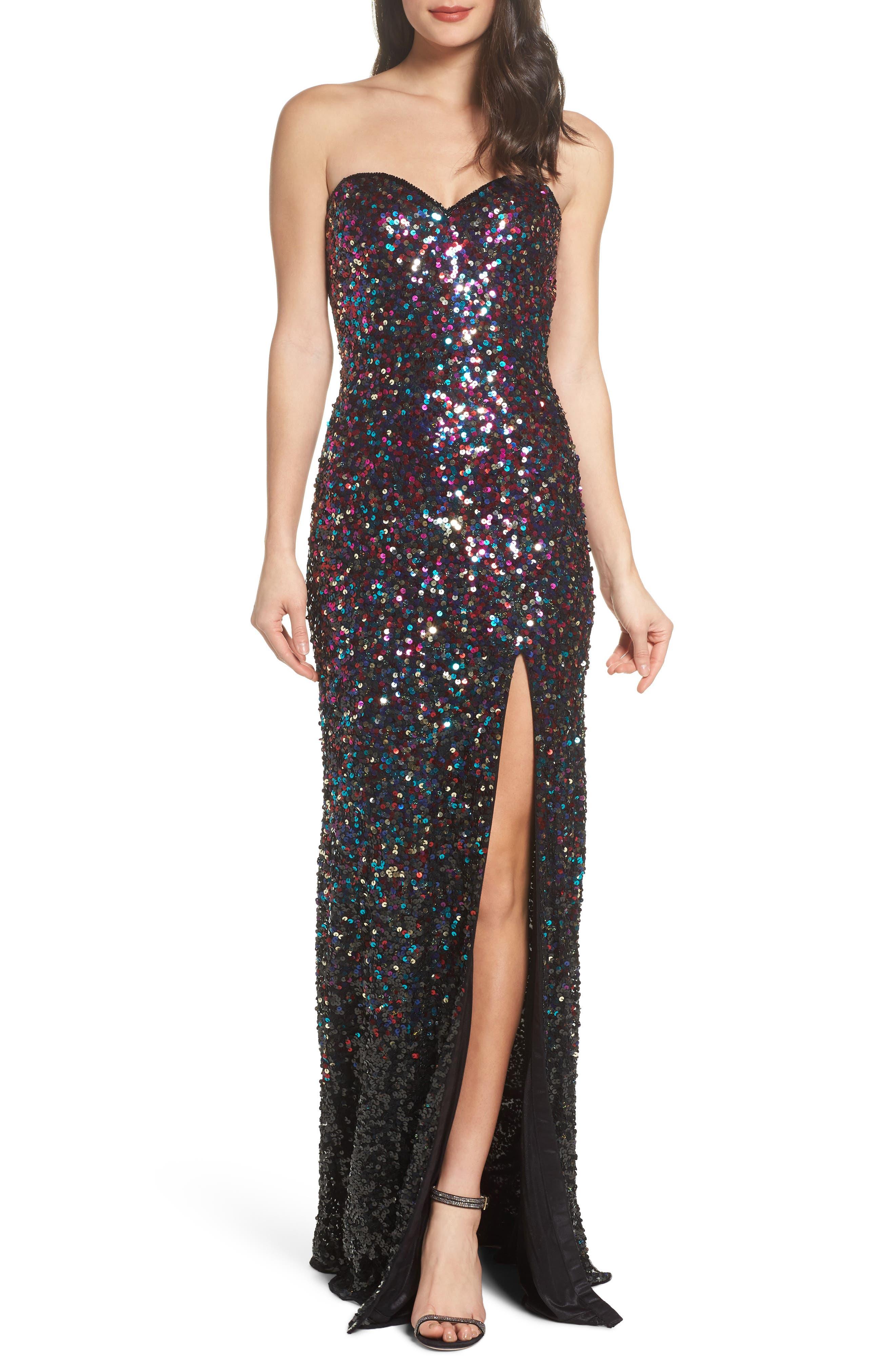 Sequin Bustier Gown,                             Main thumbnail 1, color,                             650