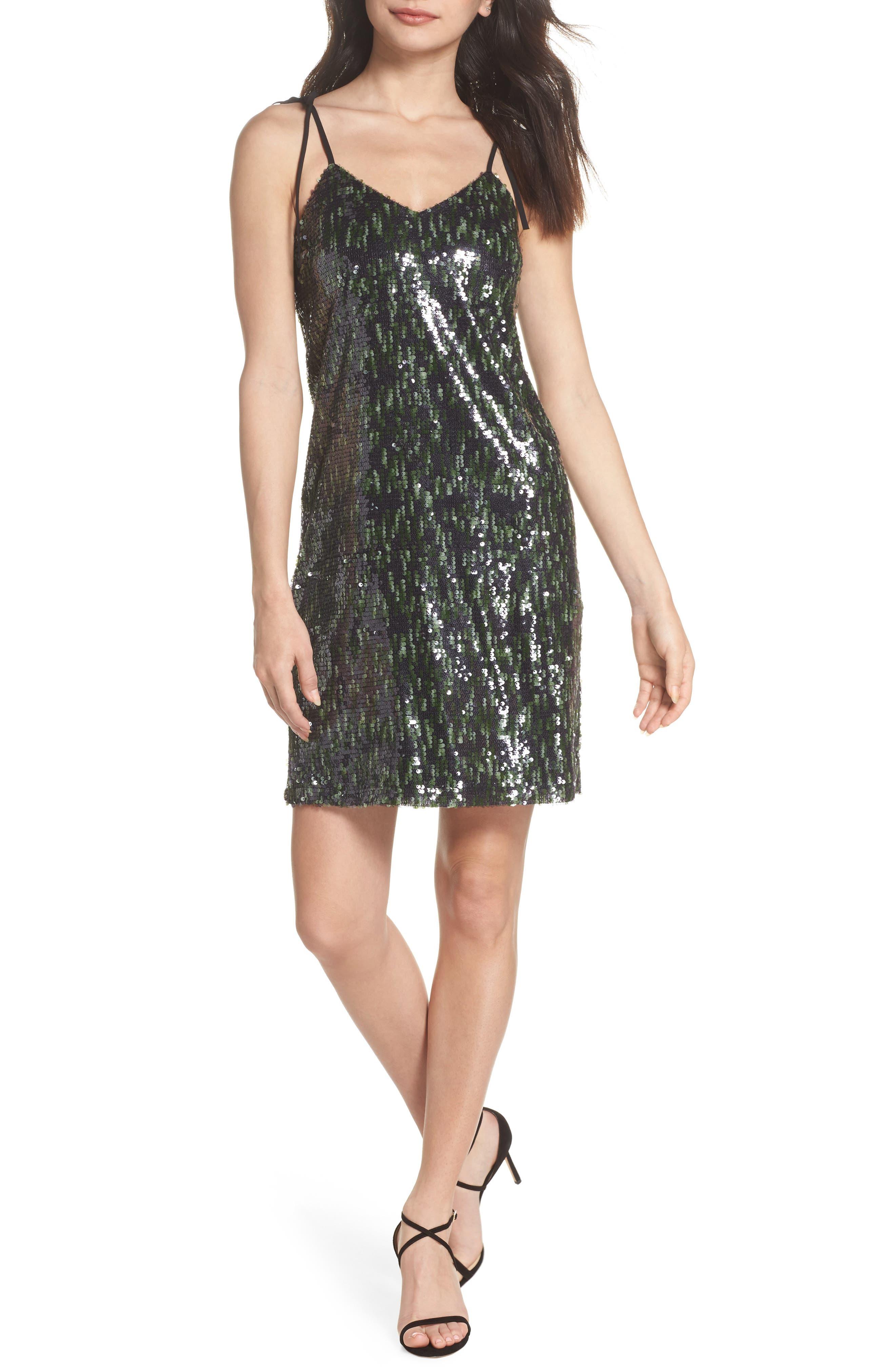 Camo Sequin Dress,                             Main thumbnail 1, color,                             BLACK/ GREEN