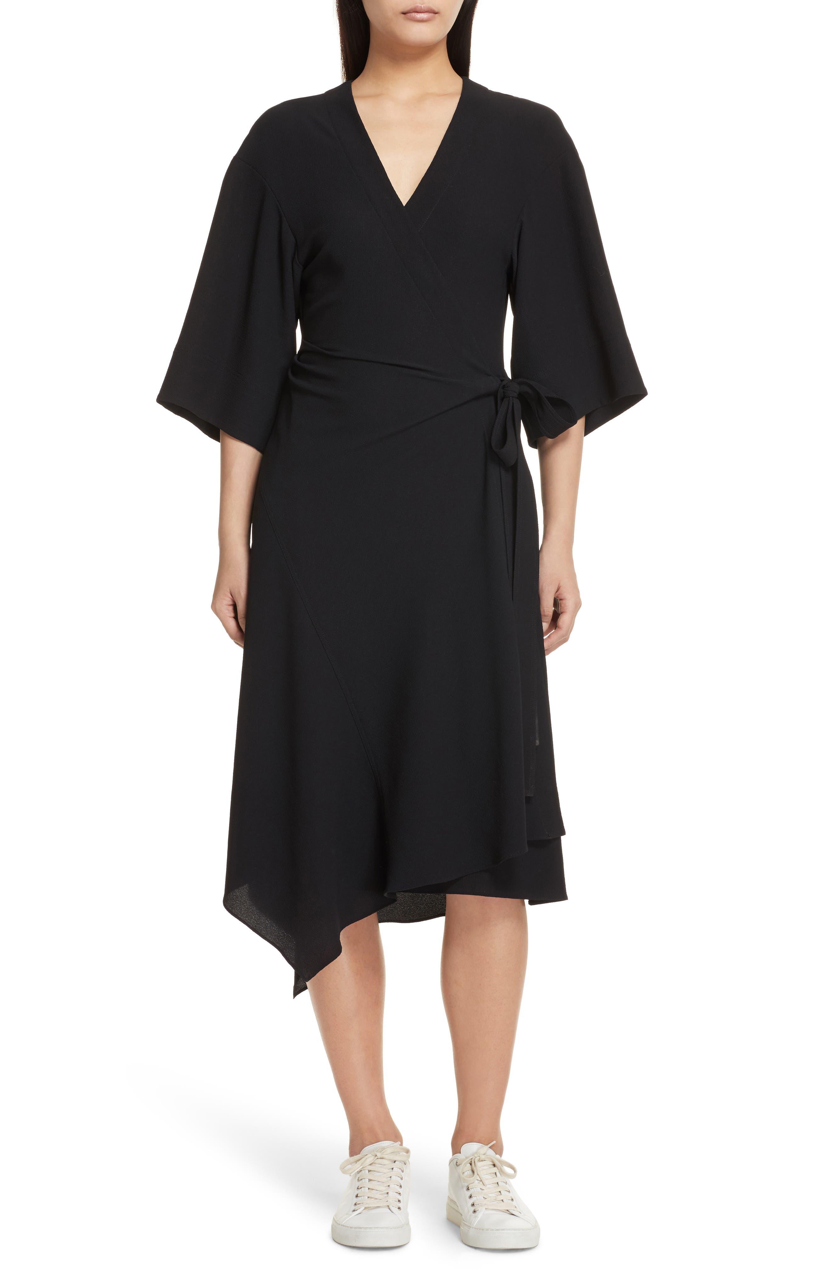THEORY,                             Kimono Crepe Wrap Dress,                             Main thumbnail 1, color,                             001