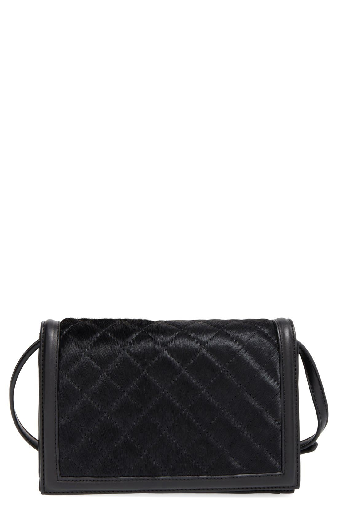 EMPERIA Quilted Faux Calf Hair Crossbody Bag, Main, color, 001