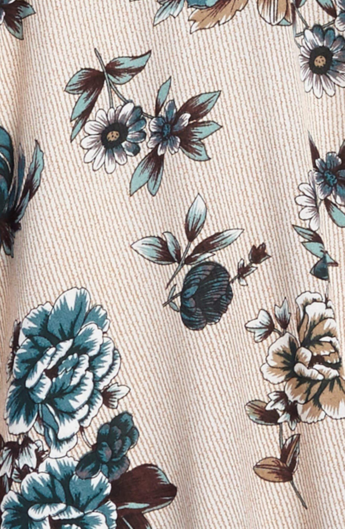 Floral Print Ruffle Sleeve Dress,                             Alternate thumbnail 3, color,                             250