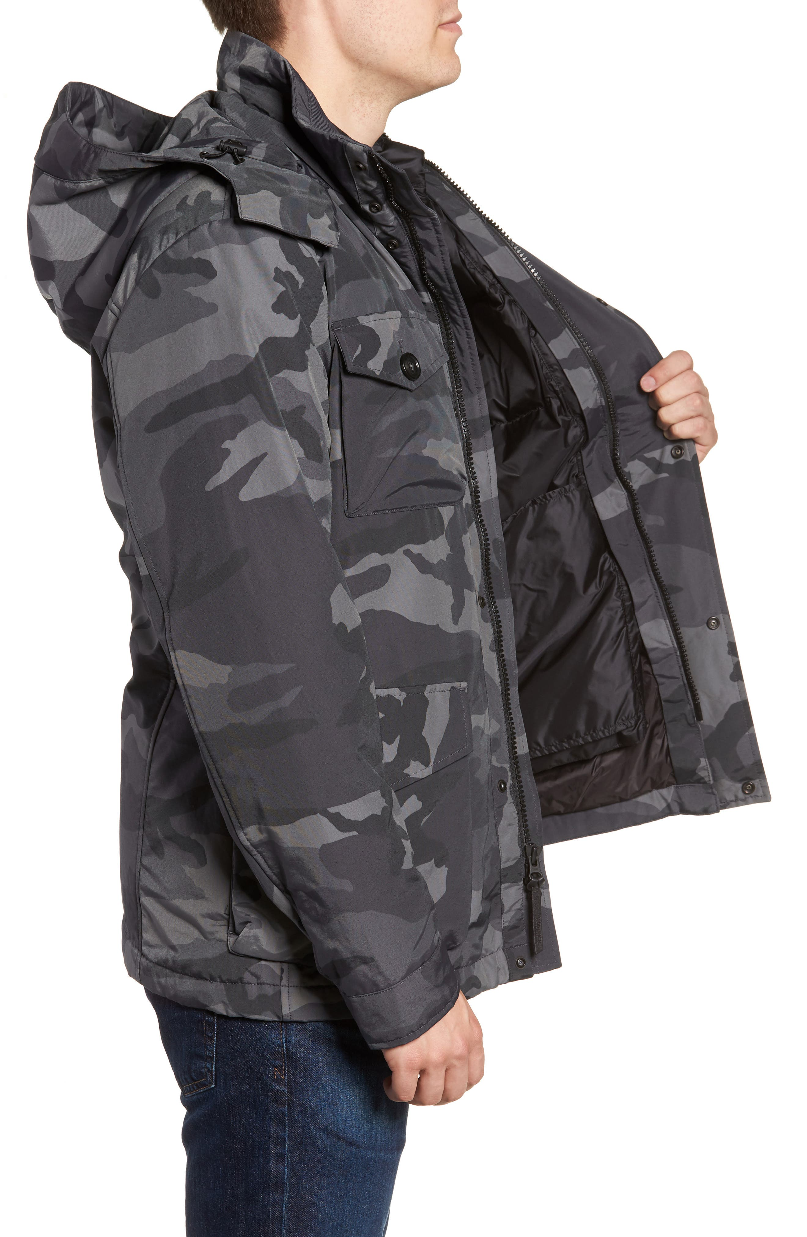 Camou Field Jacket,                             Alternate thumbnail 3, color,                             GREY CAMOU