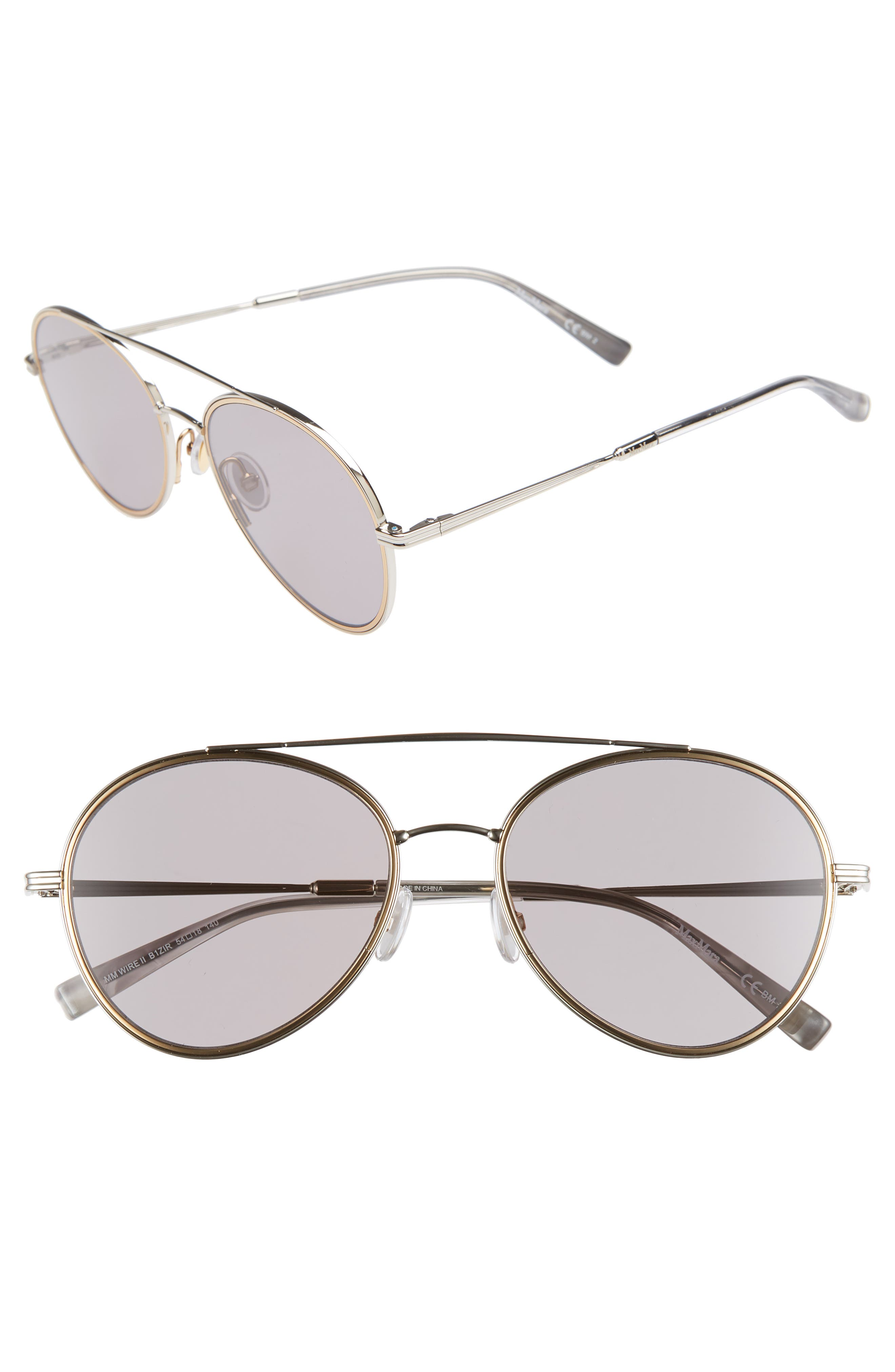 Wire II 54mm Aviator Sunglasses,                             Main thumbnail 1, color,                             SILVER