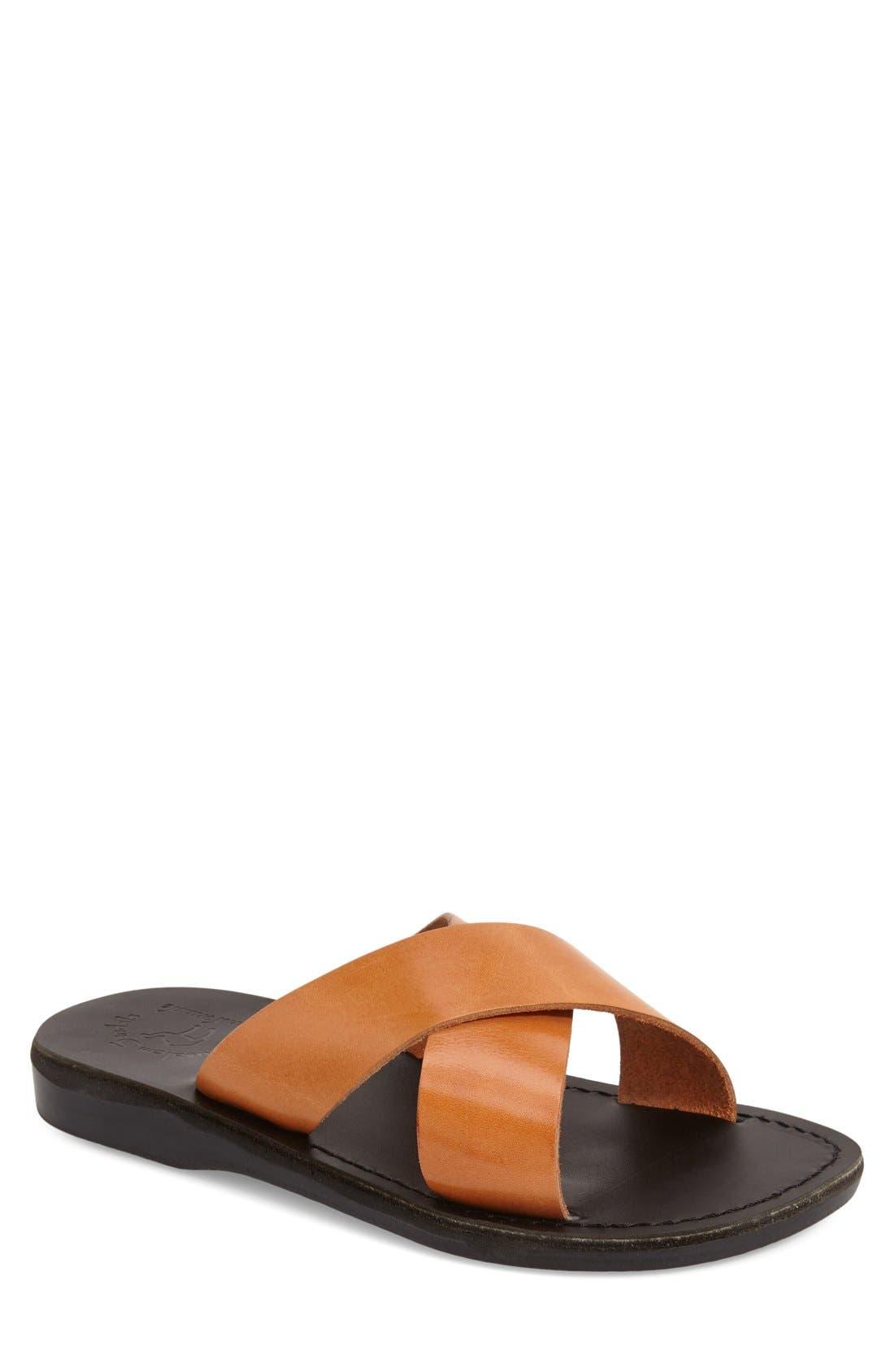 'Elan' Slide Sandal,                             Main thumbnail 1, color,                             TAN LEATHER/ BLACK