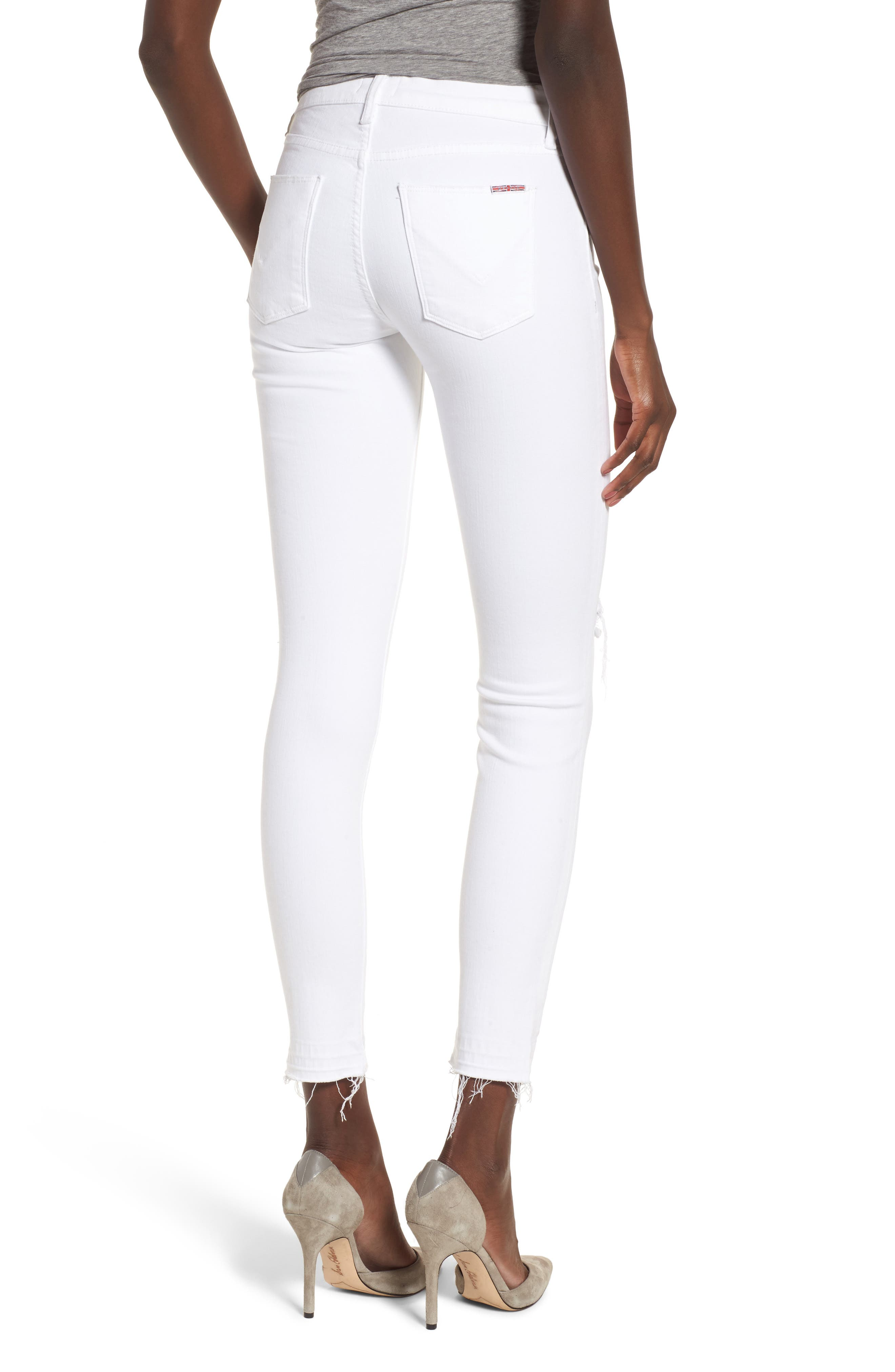 Nico Ankle Super Skinny Jeans,                             Alternate thumbnail 2, color,                             OPTICAL WHITE DESTRUCTED