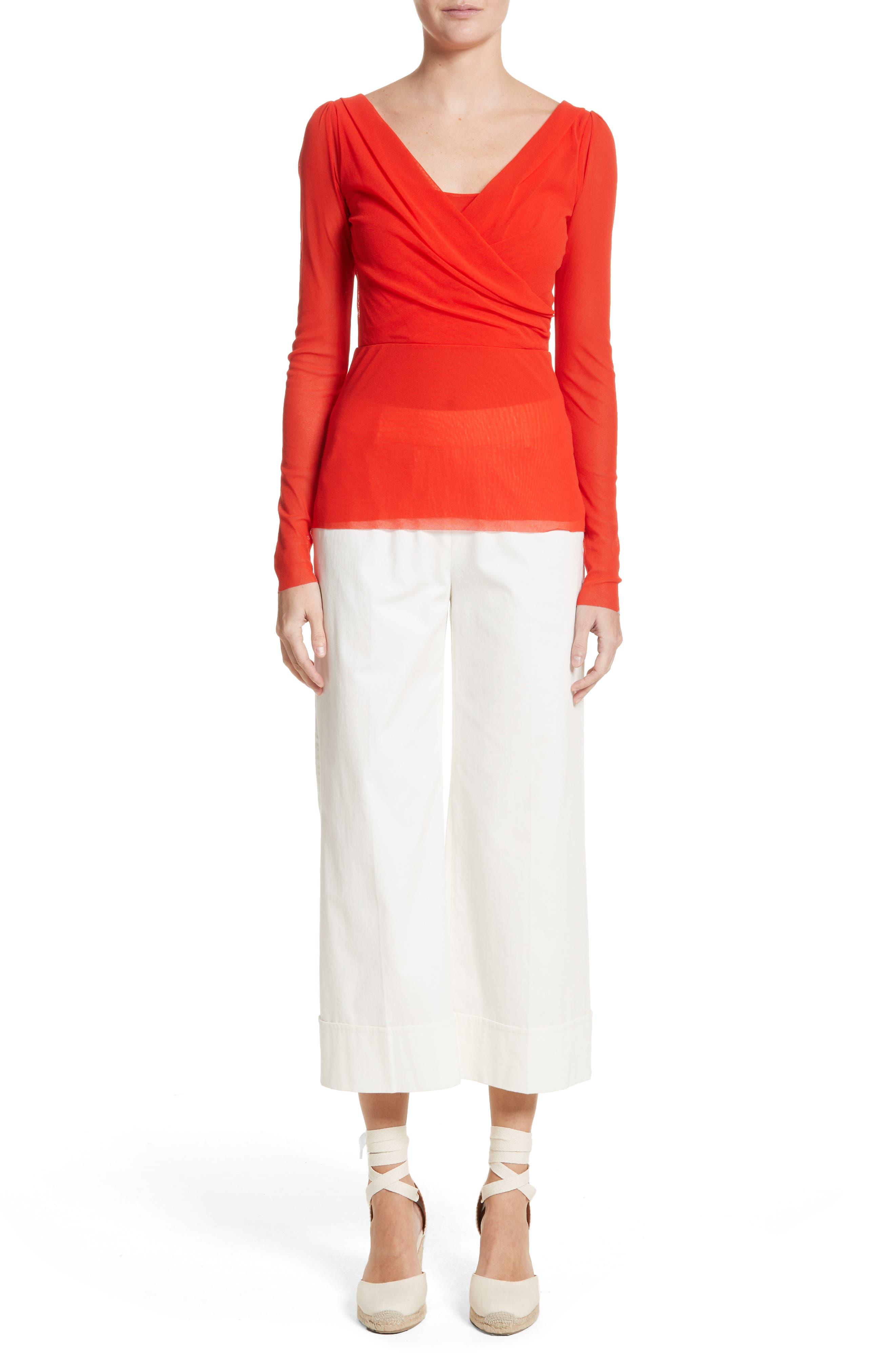 Stretch Cotton Gabardine Crop Wide Leg Pants,                             Alternate thumbnail 7, color,
