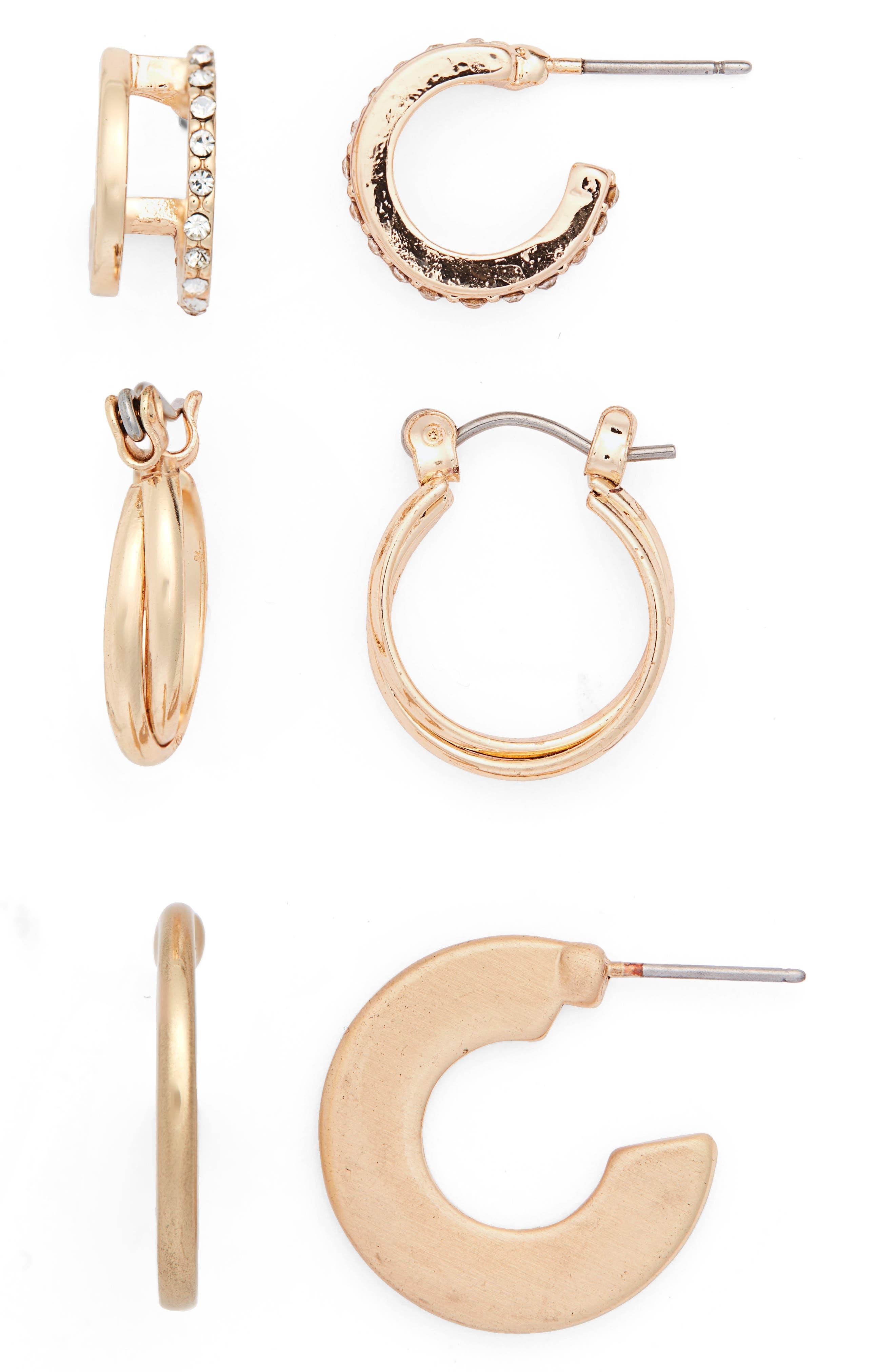 3-Pack Huggie Hoop Earrings,                         Main,                         color, GOLD/ CRYSTAL
