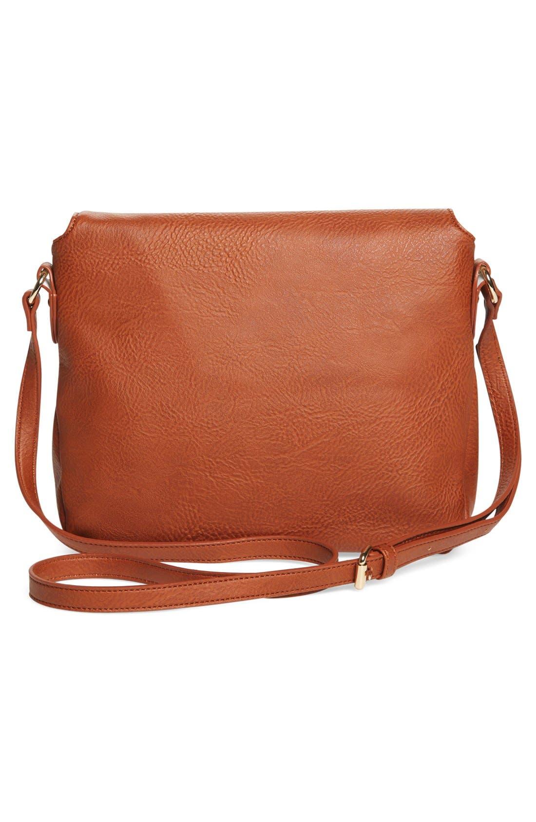 Zip Flap Faux Leather Crossbody Bag,                             Alternate thumbnail 4, color,