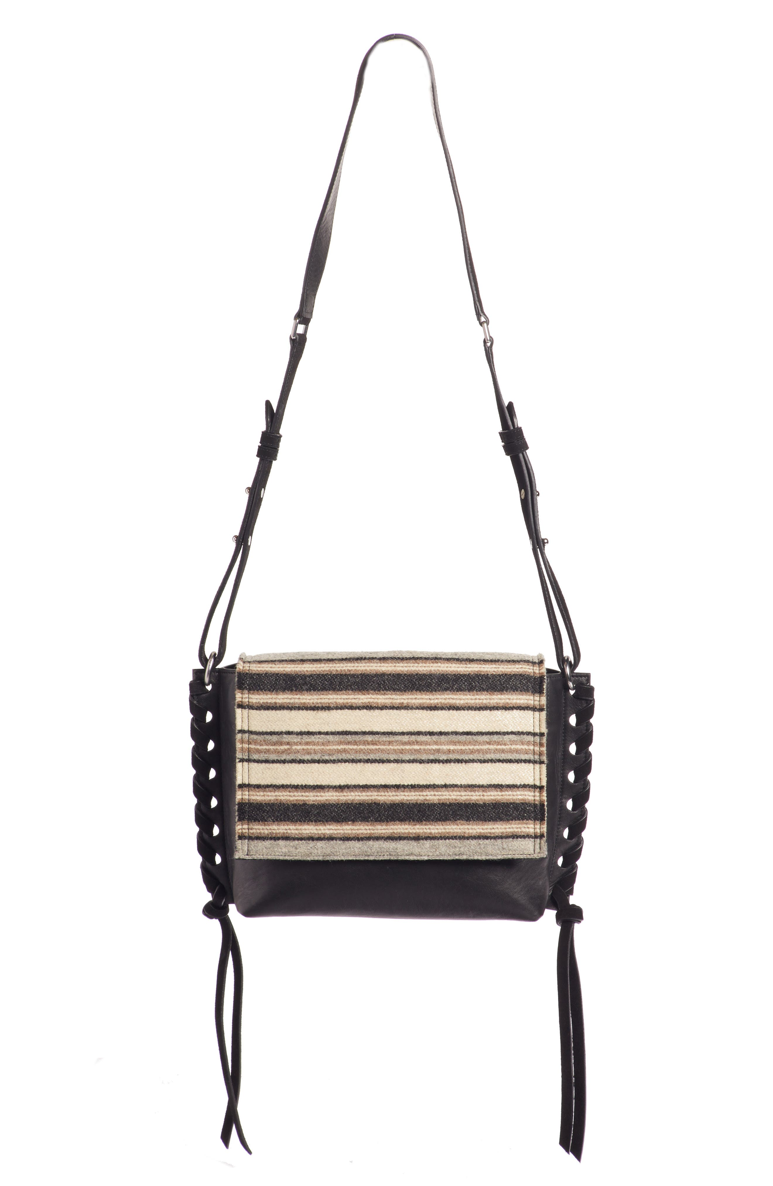 Asli Wool & Leather Shoulder Bag, Main, color, 020