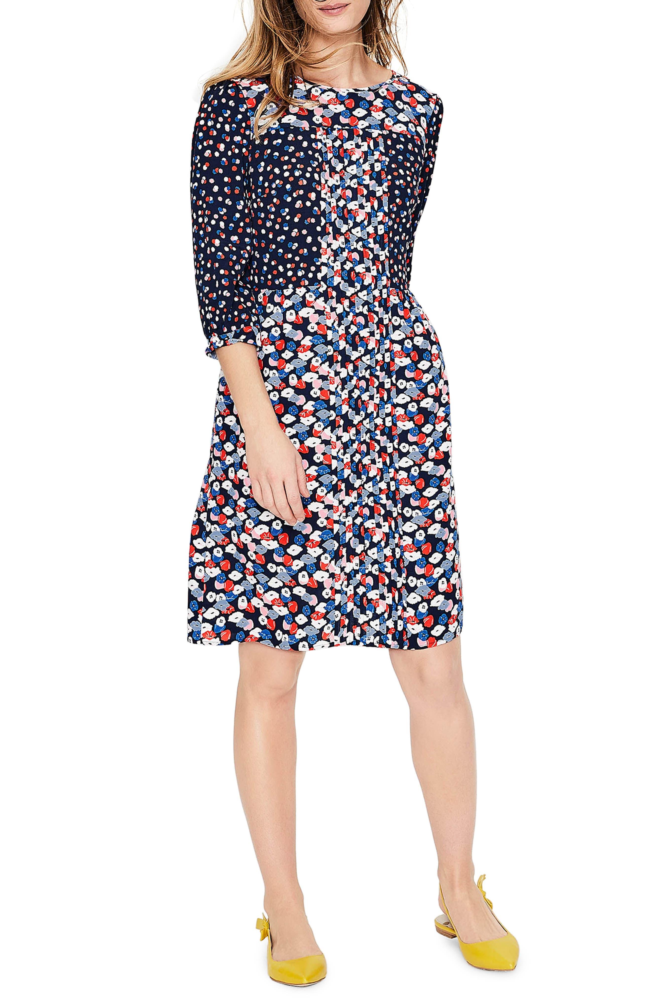 Hotchpotch Pattern Mix Pintuck Dress,                         Main,                         color, 486