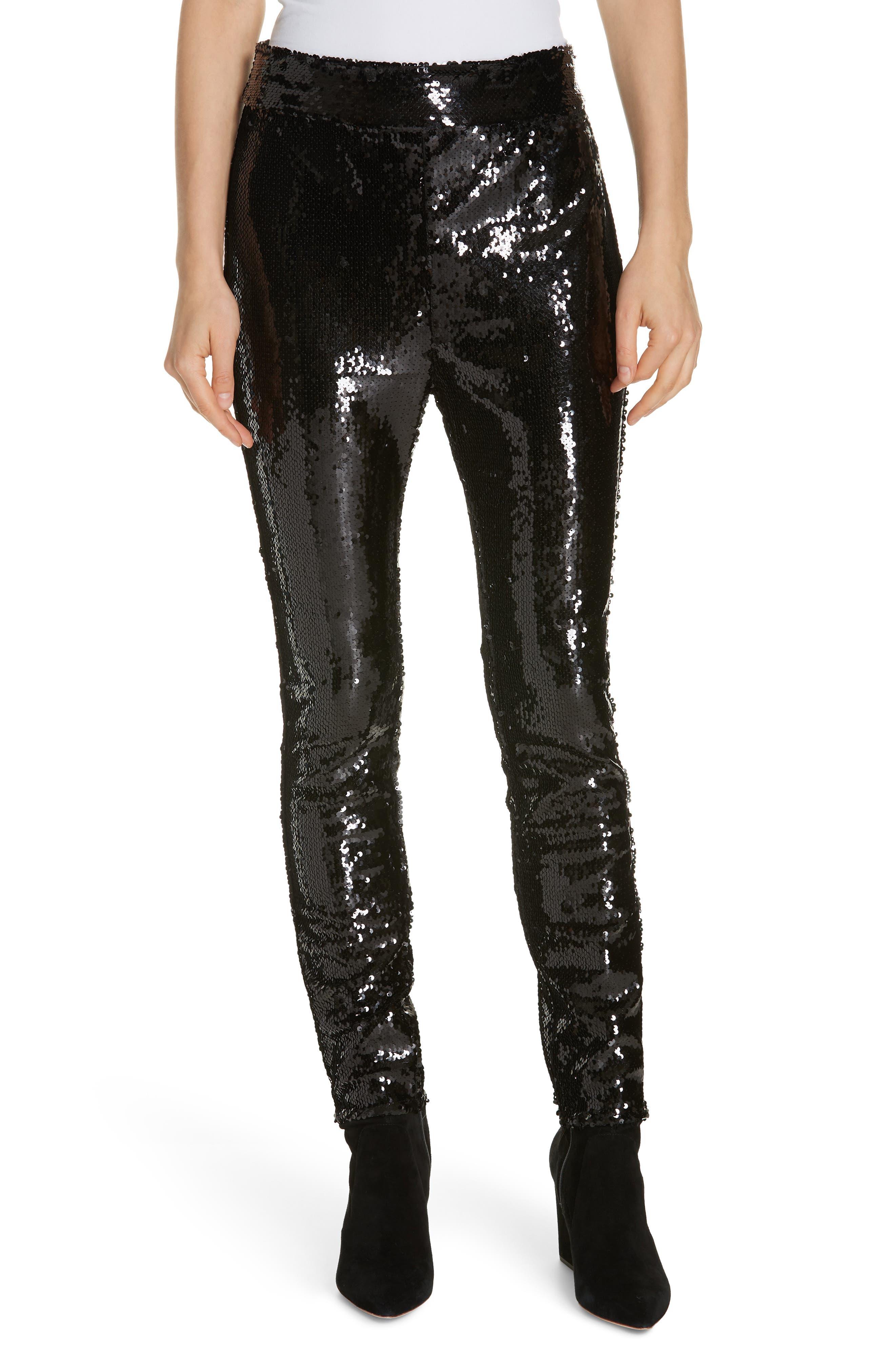 Sequin Skinny Pants,                         Main,                         color, NOIR