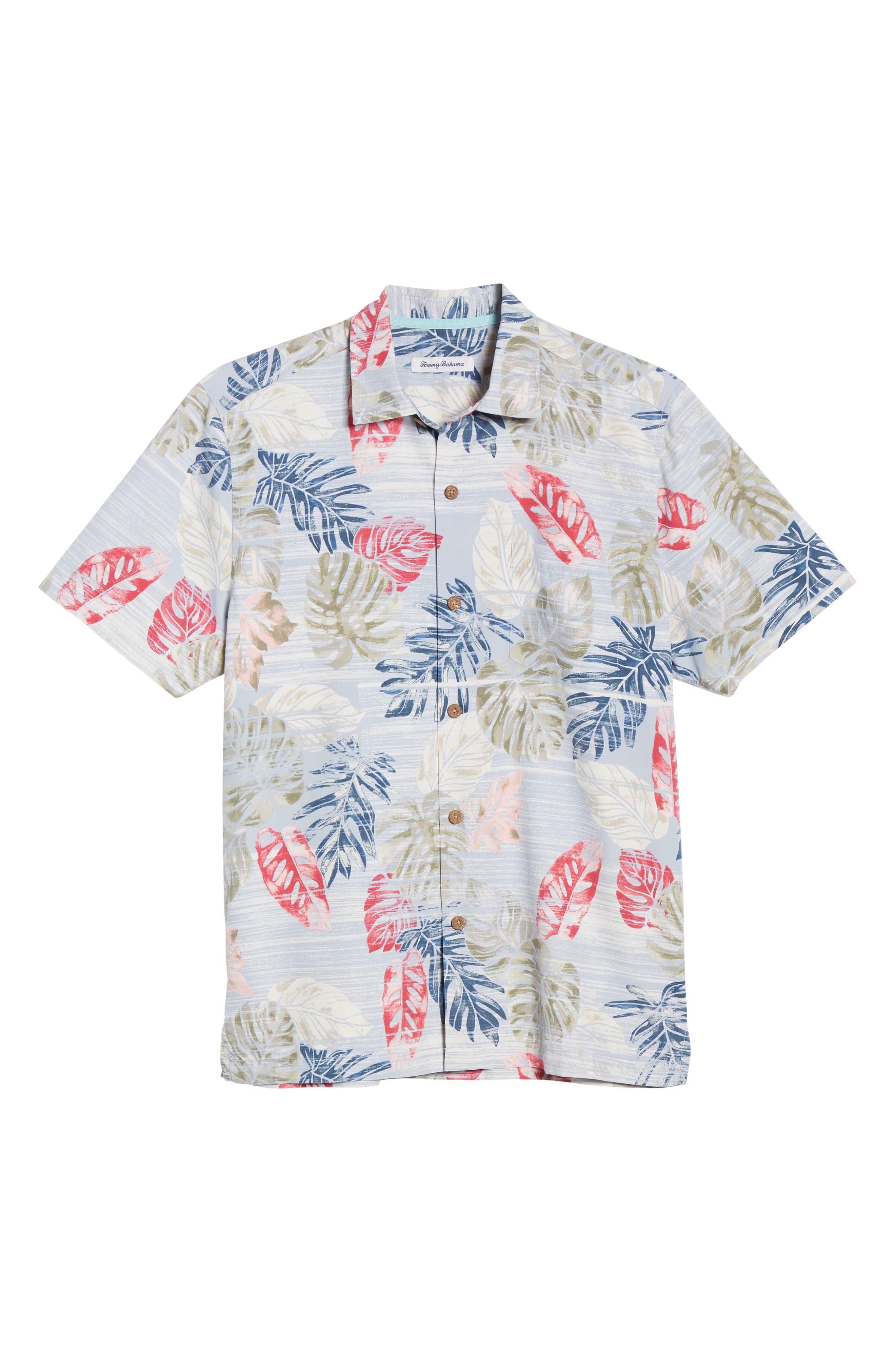 TOMMY BAHAMA,                             Botanica Sketch Silk Blend Shirt,                             Alternate thumbnail 5, color,                             CANYON SKY