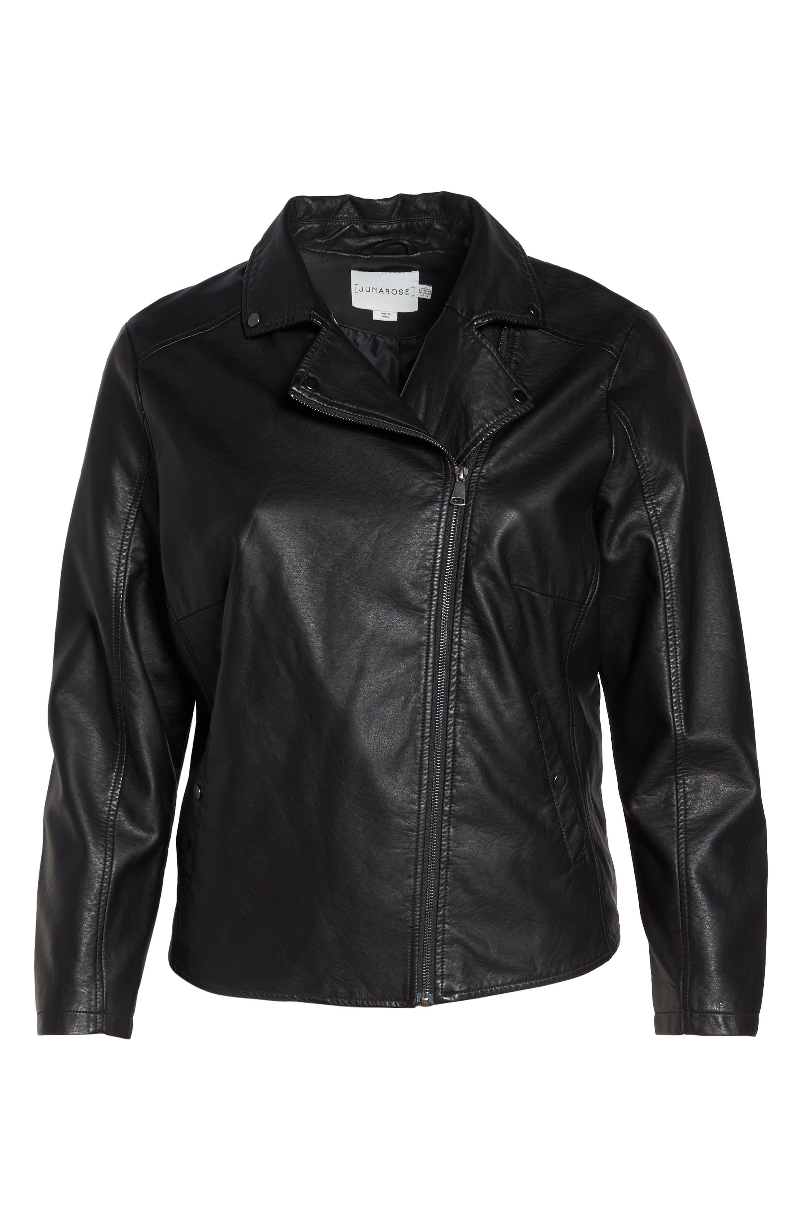 Karisa Faux Leather Moto Jacket,                             Alternate thumbnail 5, color,                             002
