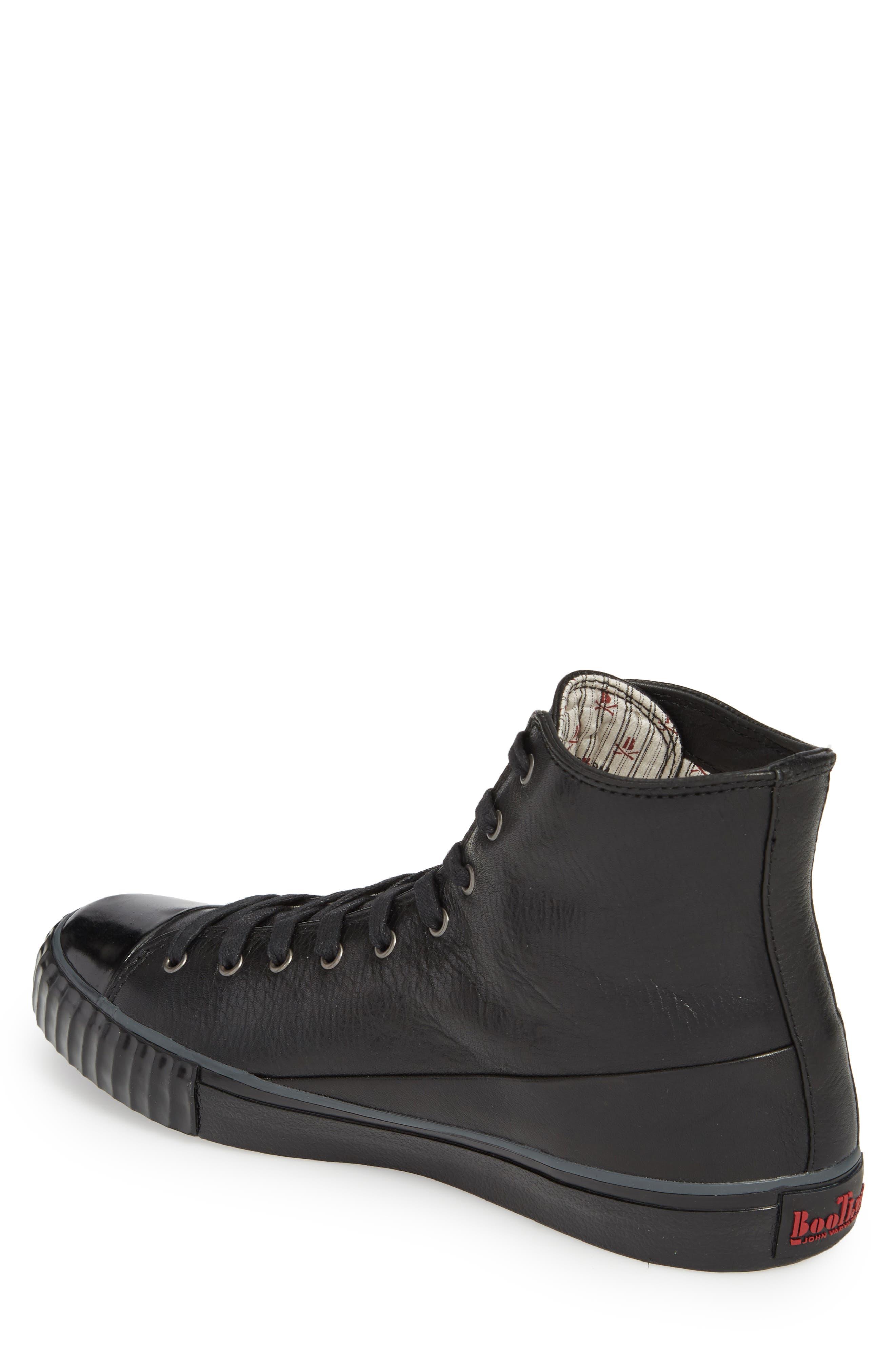 Bootleg High Top Sneaker,                             Alternate thumbnail 2, color,                             BLACK LEATHER
