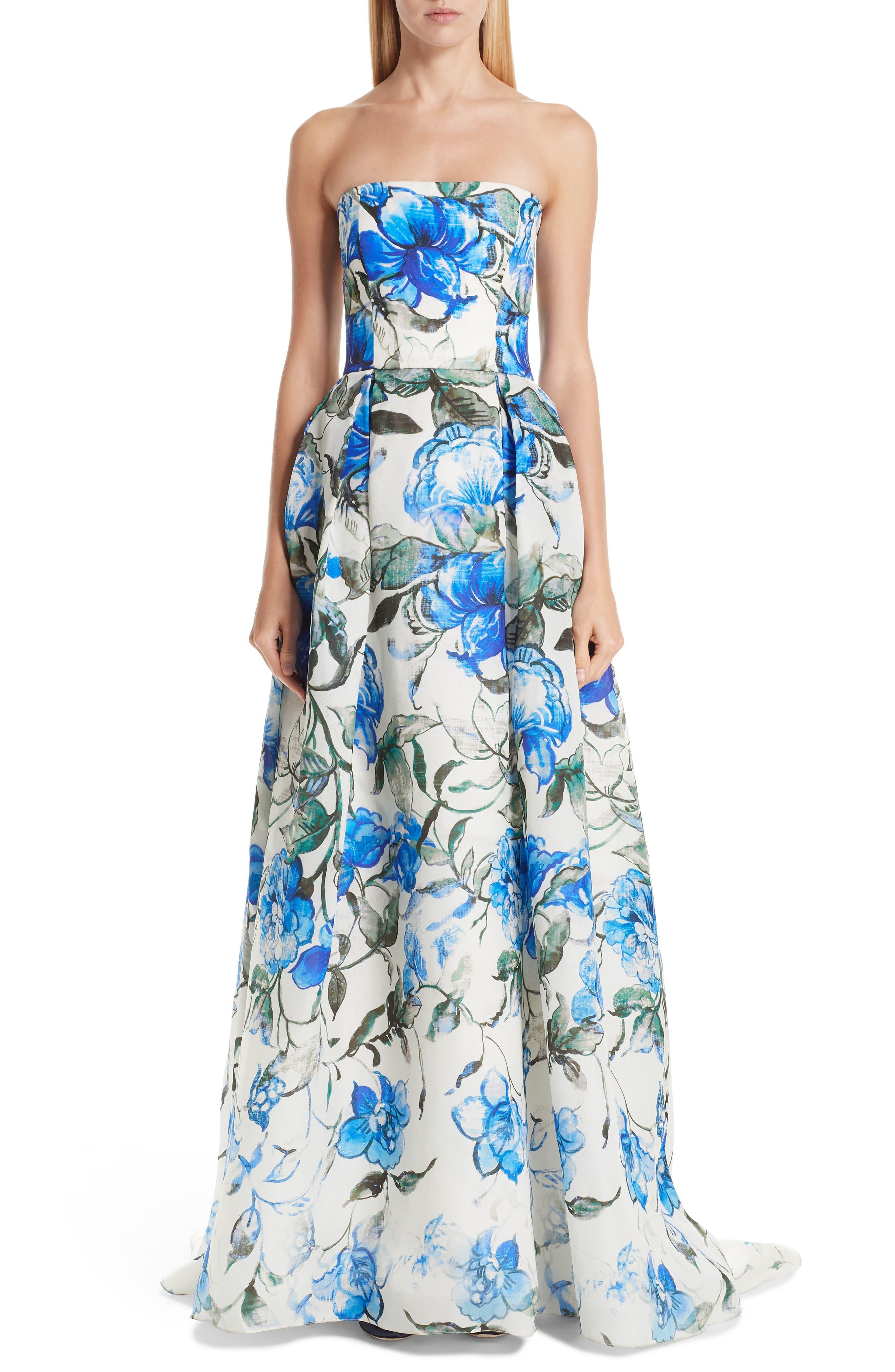 Floral Strapless Silk Evening Dress,                             Main thumbnail 1, color,                             PERSIAN BLUE MULTI