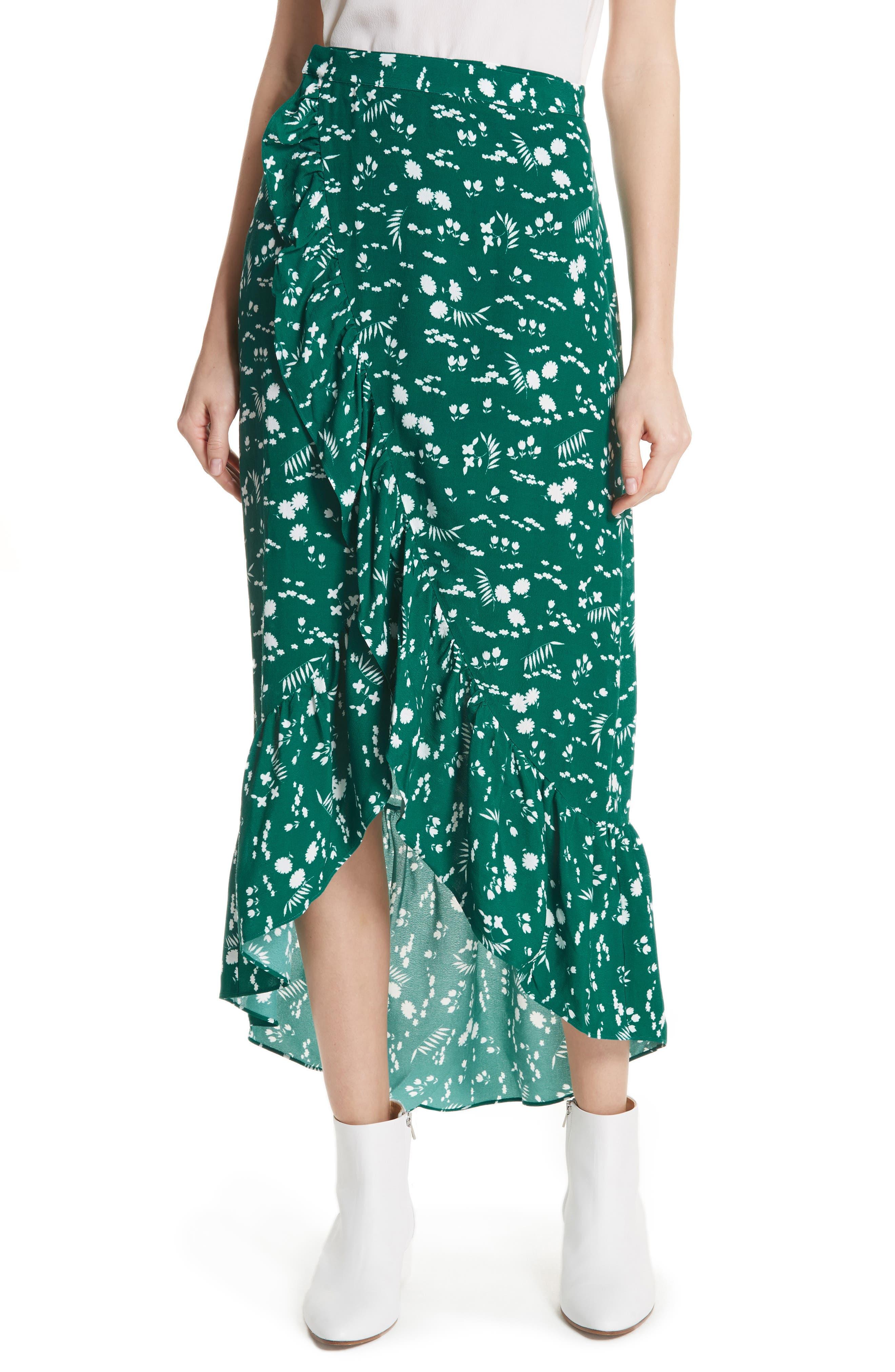 Floral High/Low Wrap Skirt,                             Main thumbnail 1, color,                             900