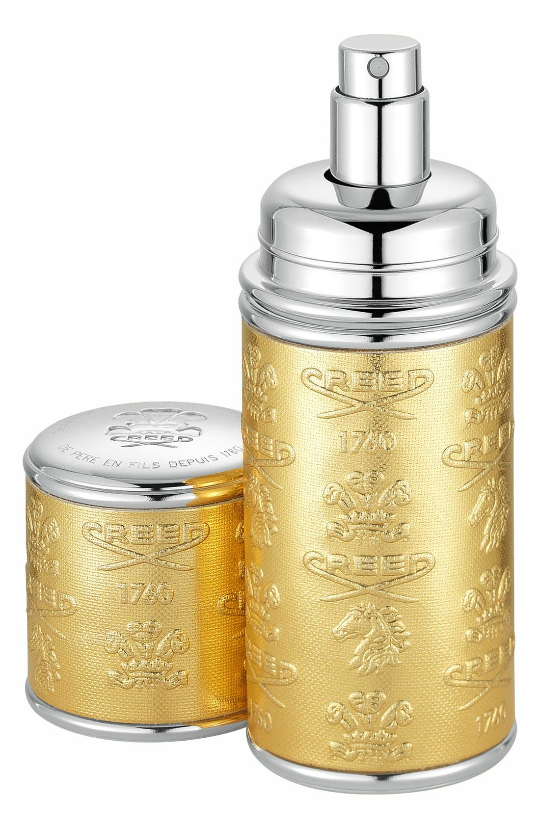 Gold with Silver Trim Leather Atomizer,                         Main,                         color, NO COLOR