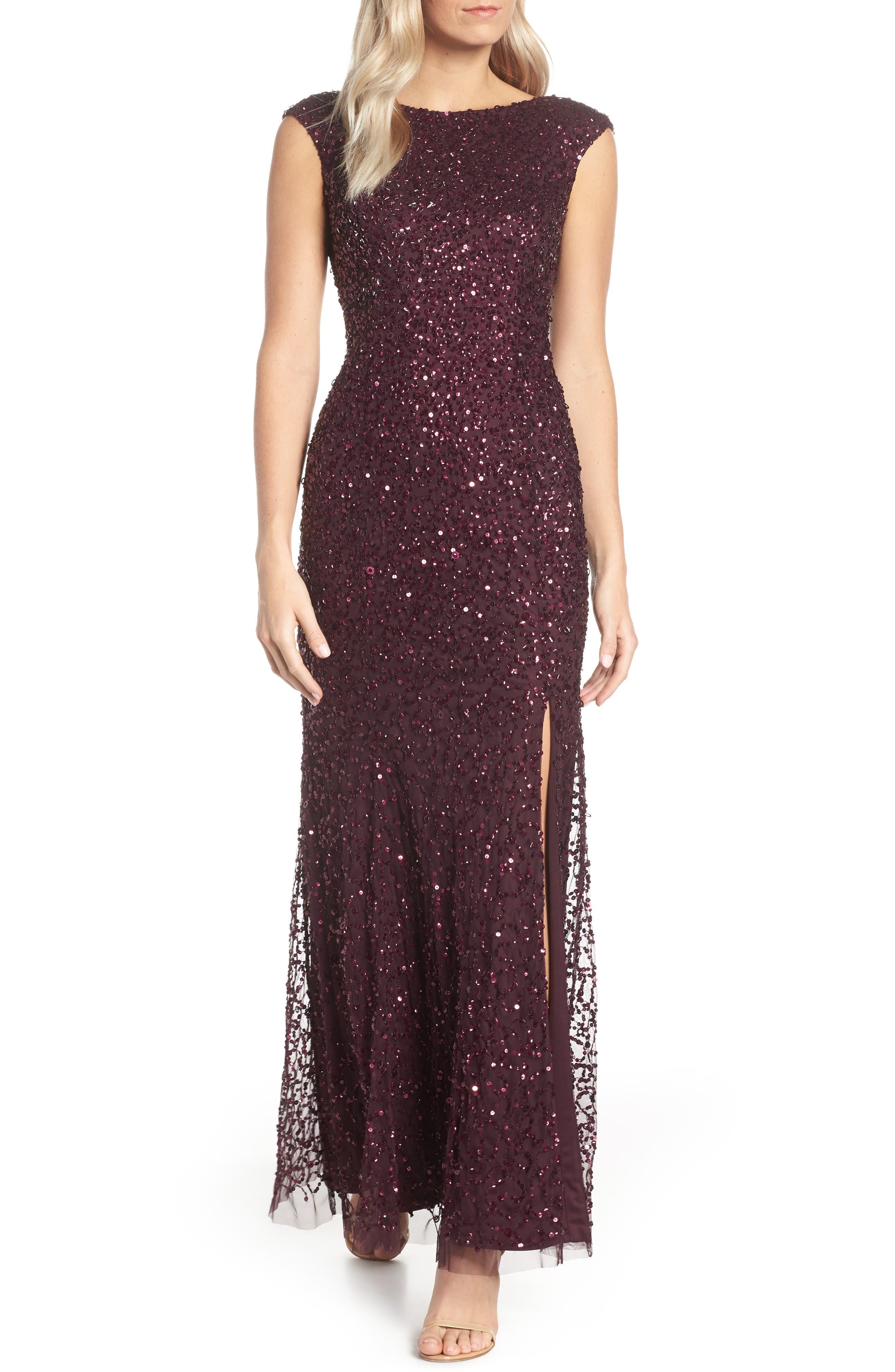 Sequin Evening Dress,                             Main thumbnail 1, color,                             NIGHT PLUM