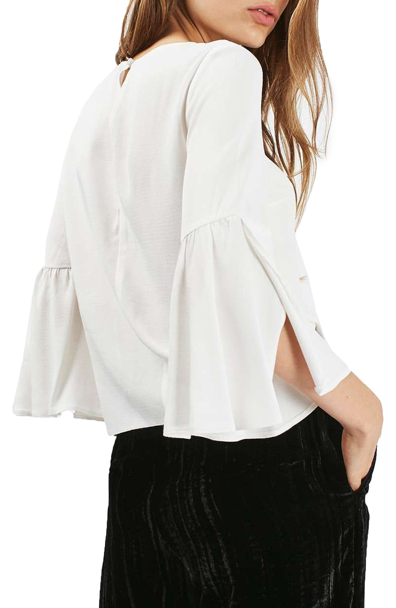 Trumpet Sleeve Blouse,                             Alternate thumbnail 3, color,                             900