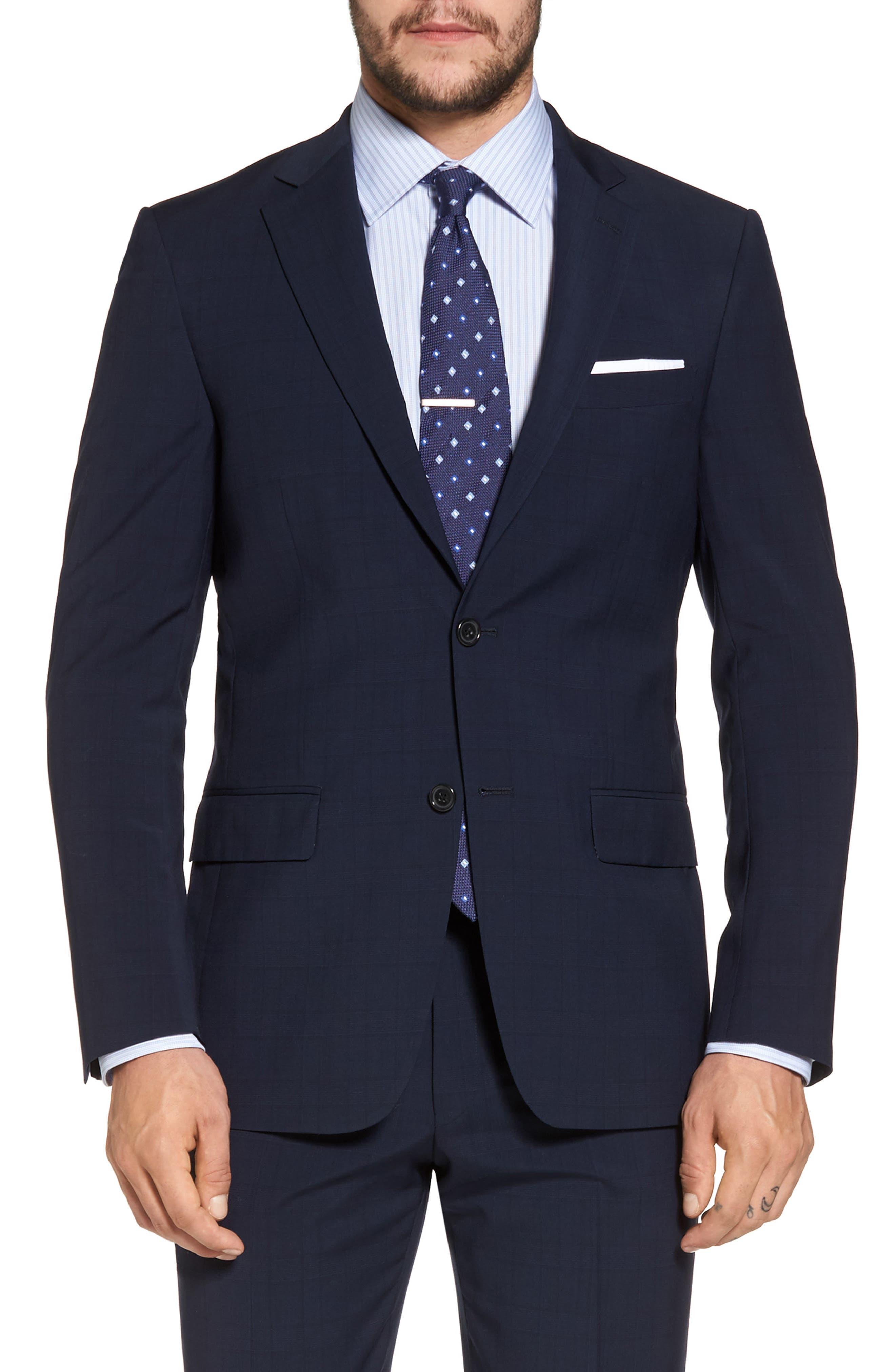 New York Classic Fit Plaid Wool Suit,                             Alternate thumbnail 5, color,                             400