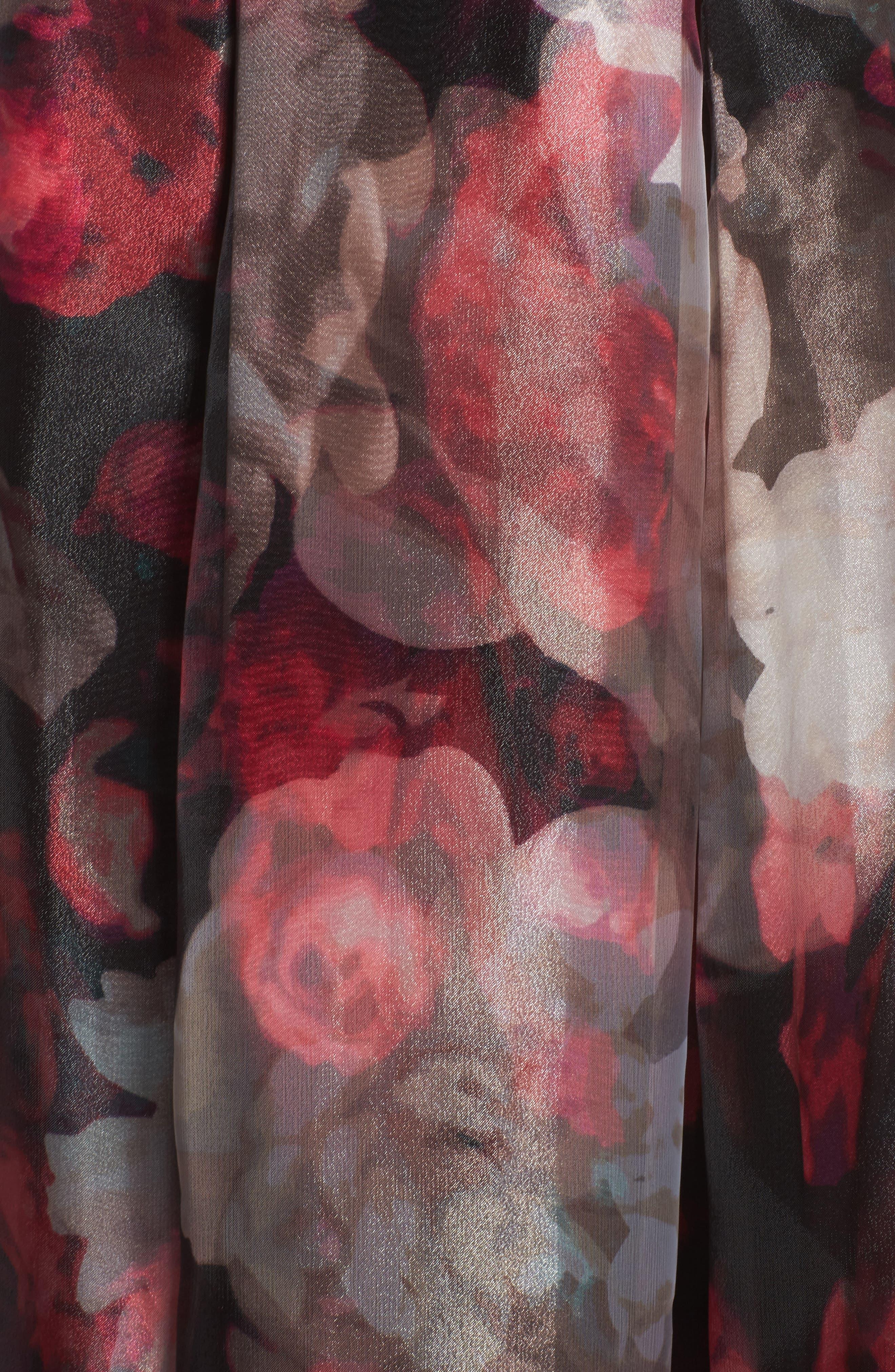 Embellished Knit & Organza Ballgown,                             Alternate thumbnail 5, color,                             001