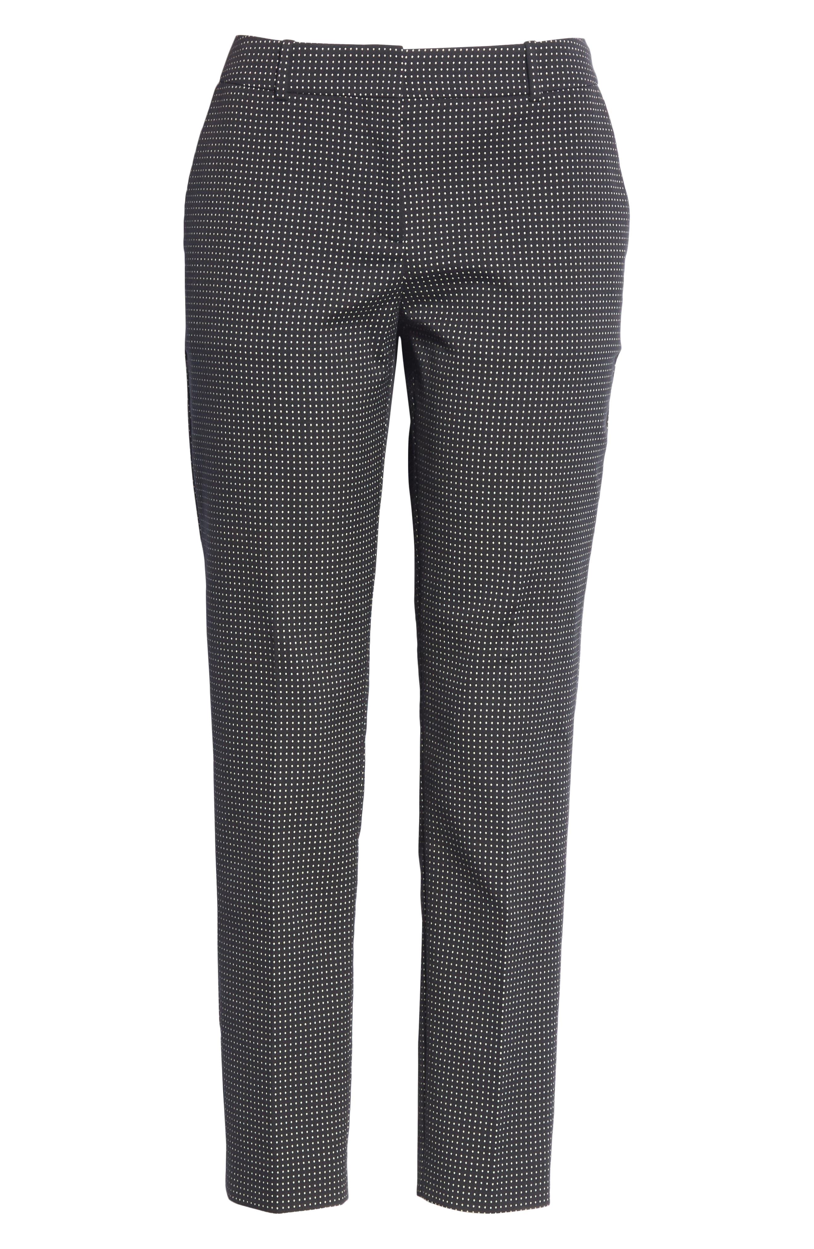 Tanitea Mini Dot Stretch Wool Suit Trousers,                             Alternate thumbnail 6, color,                             BLACK FANTASY
