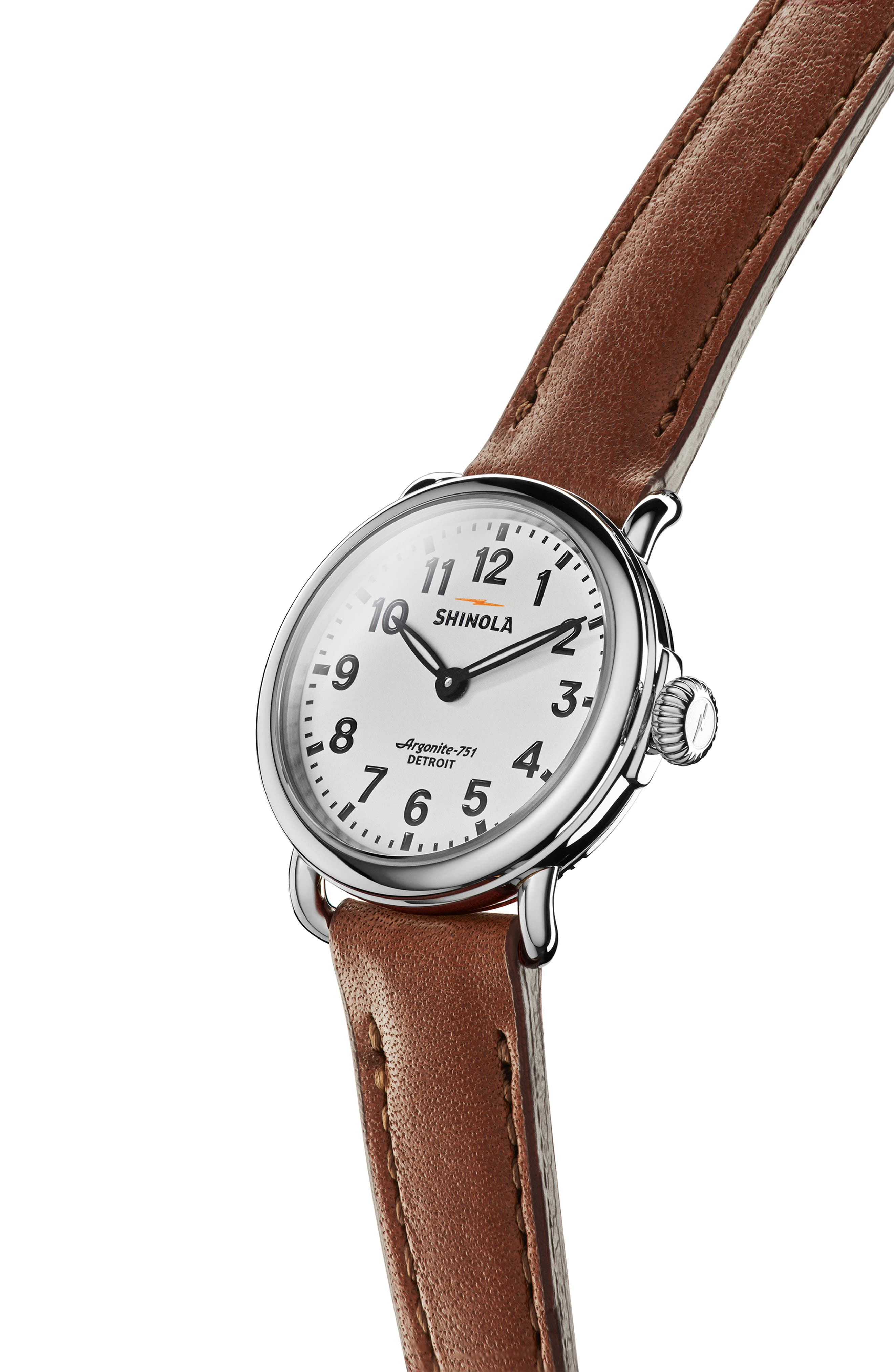 The Runwell Leather Strap Watch, 28mm,                             Alternate thumbnail 5, color,                             DARK COGNAC/ WHITE/ SILVER
