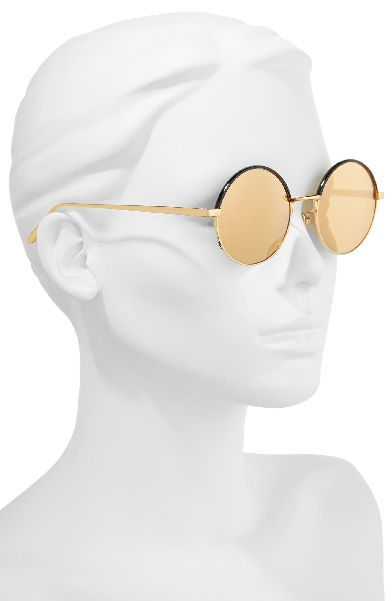 51mm Mirrored 18 Karat Gold Trim Round Sunglasses,                             Alternate thumbnail 2, color,                             710