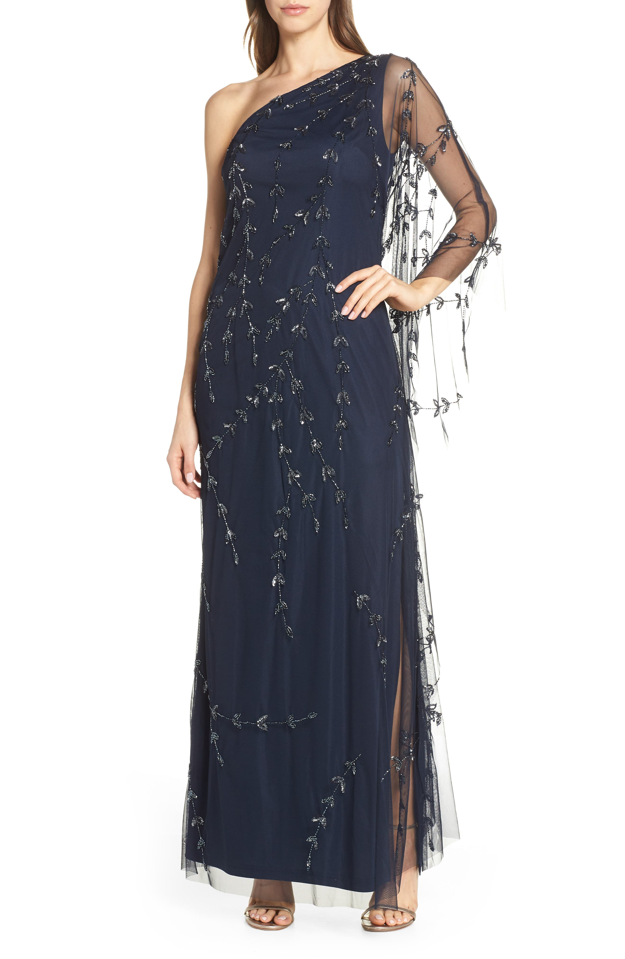 Adrianna Papell Beaded One-Shoulder Evening Dress, Blue